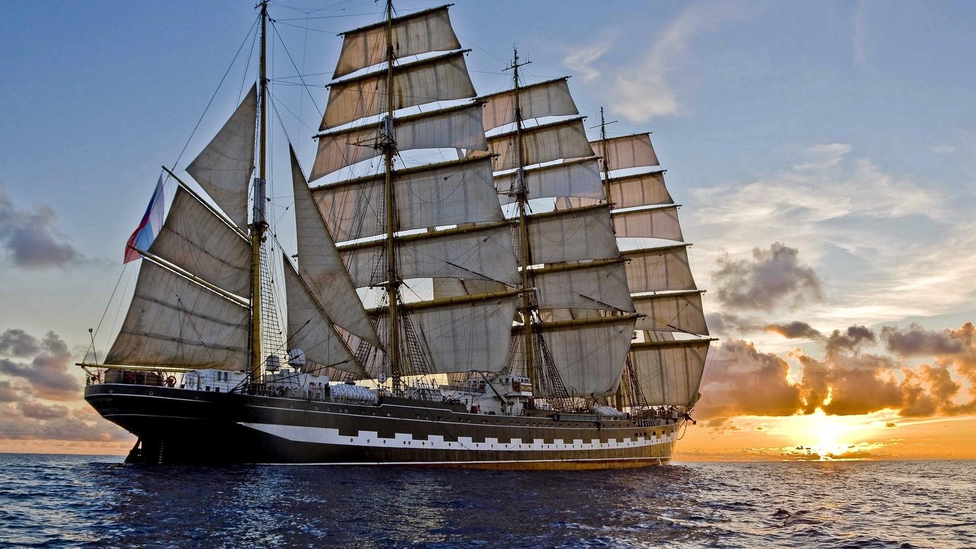 General 1920x1080 ship sea vintage sunset