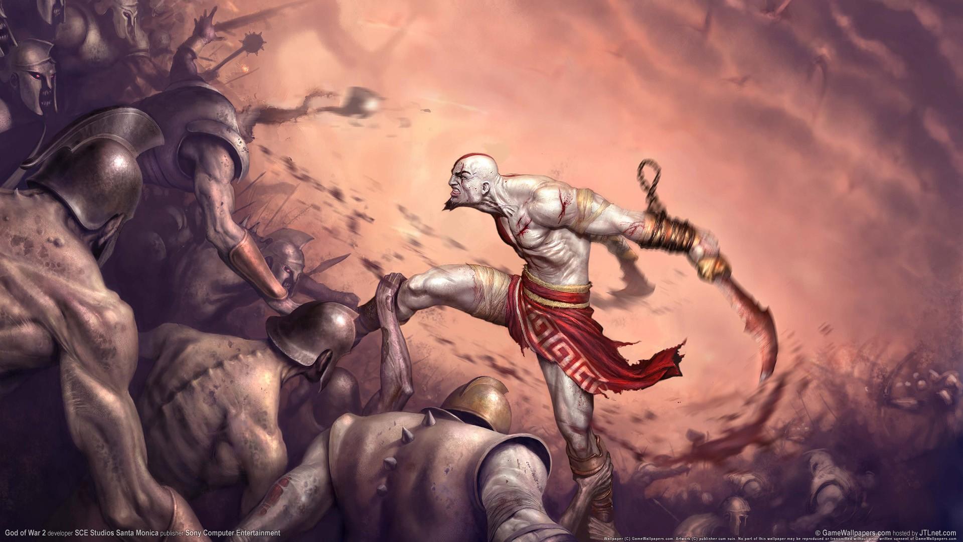 General 1920x1080 God of War God of War II video game art Kratos video games fantasy art Sony Computer Entertainment video game man