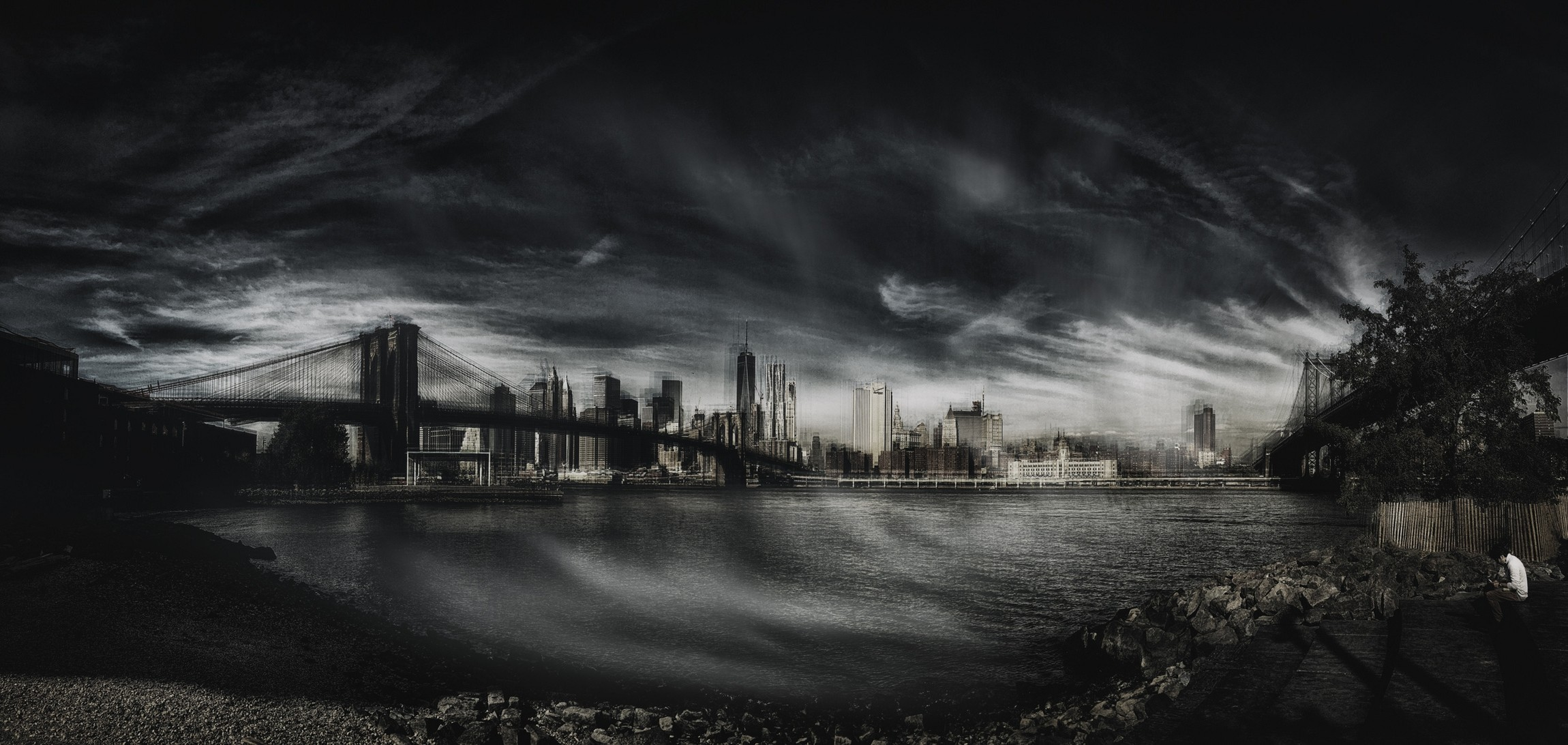 General 2300x1092 landscape photography panoramas New York City Brooklyn Bridge river monochrome skyscraper clouds architecture