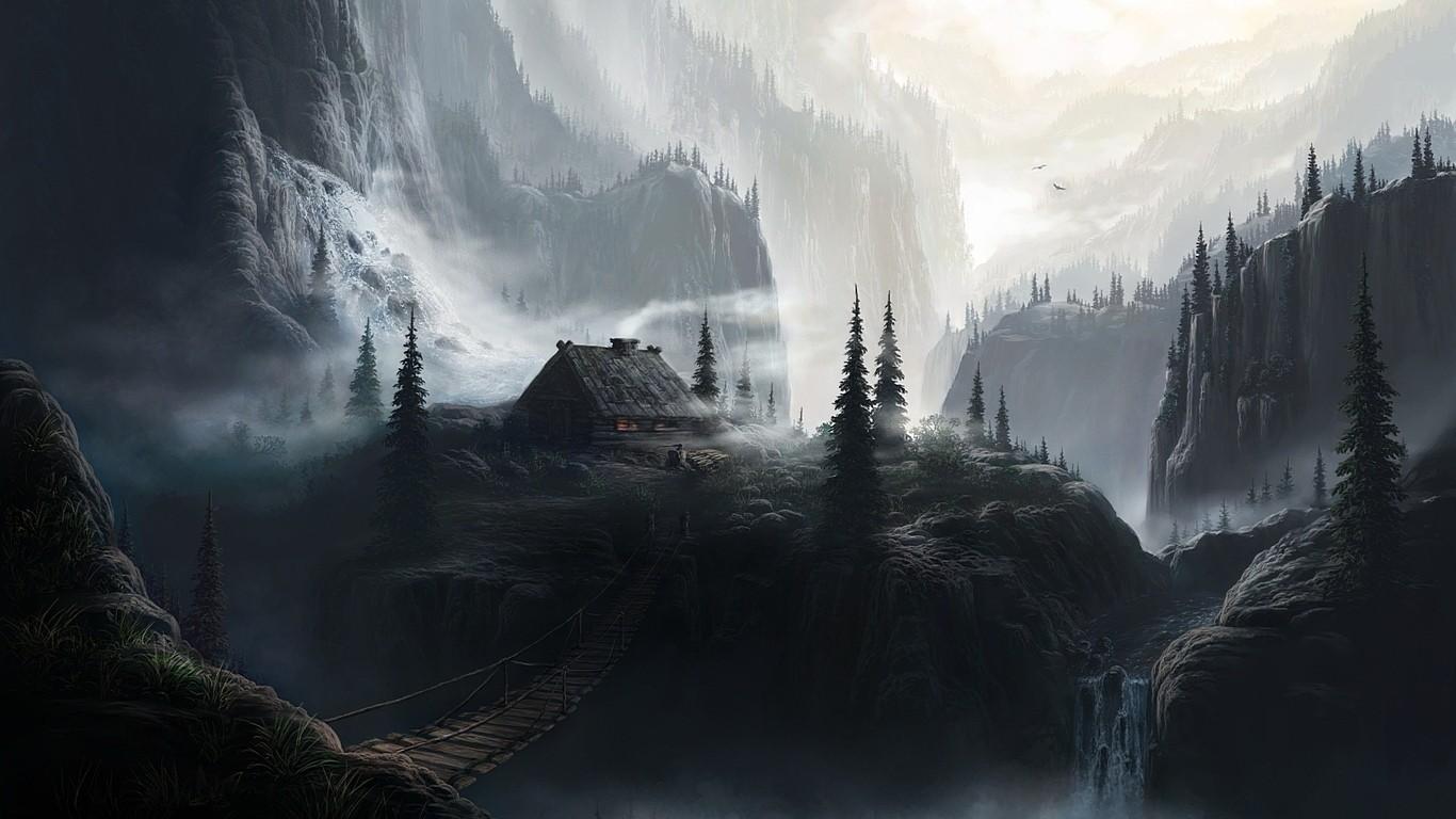 General 1366x768 fantasy art artwork mountains trees pine trees hut bridge DeviantArt nature house mist waterfall