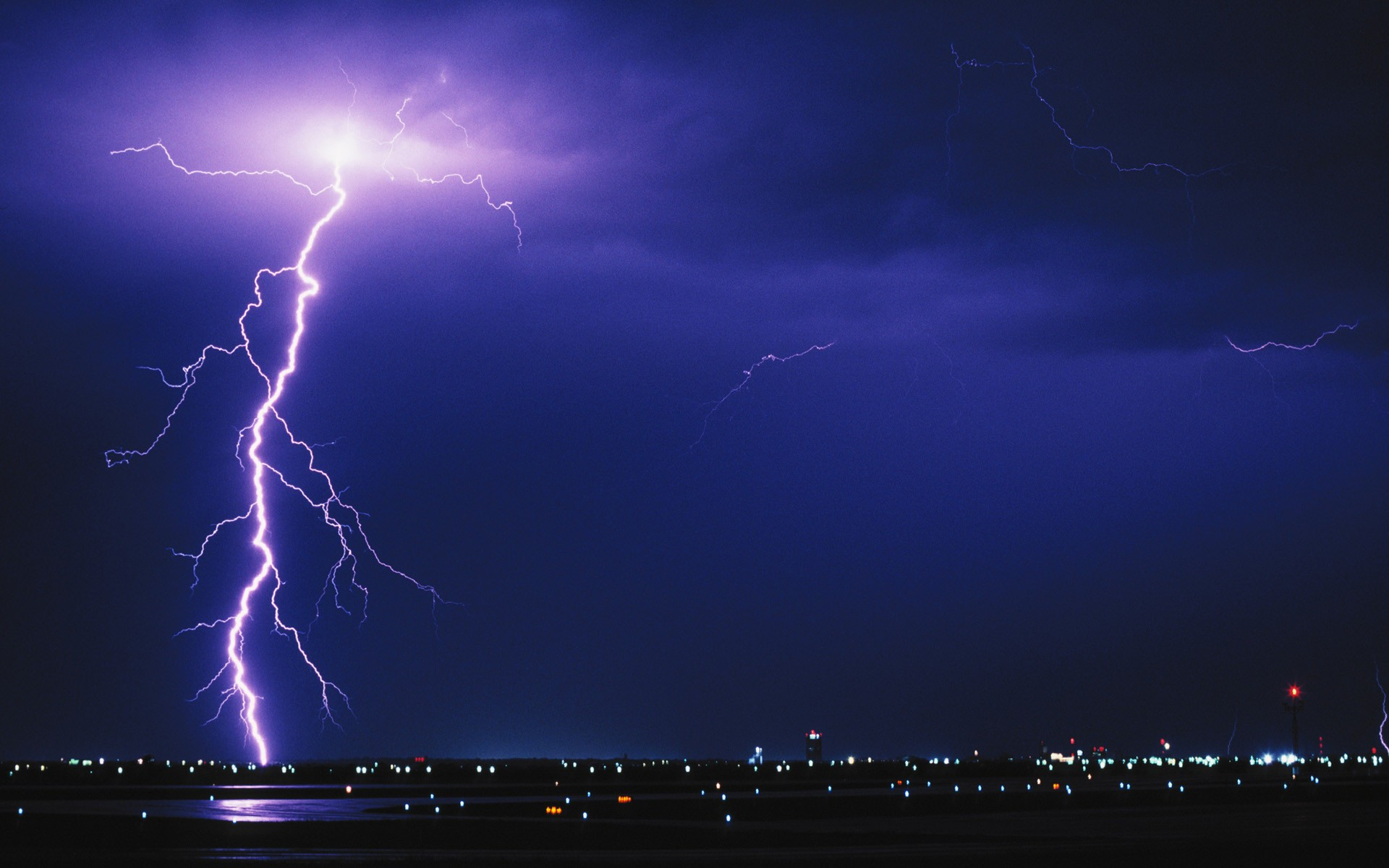 General 1920x1200 photography night urban lights airport storm lightning