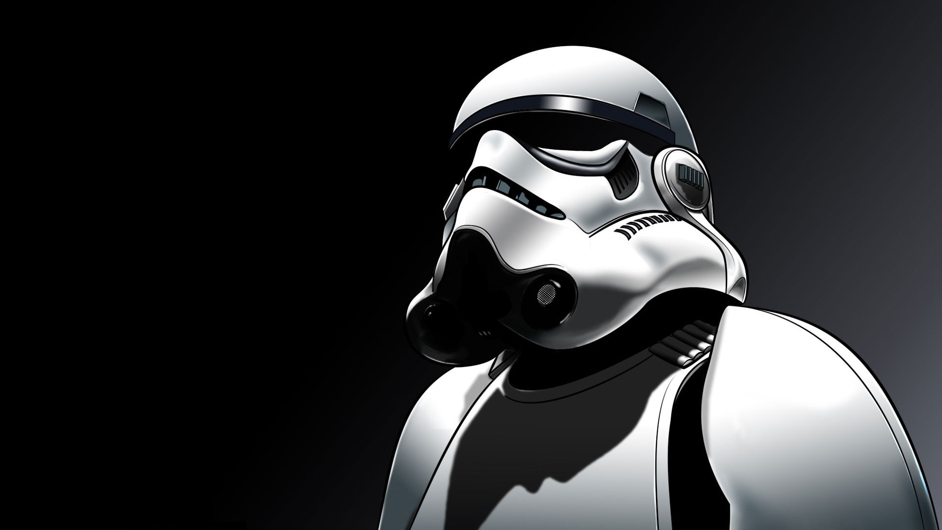 General 1920x1080 digital art Star Wars stormtrooper black white shadow