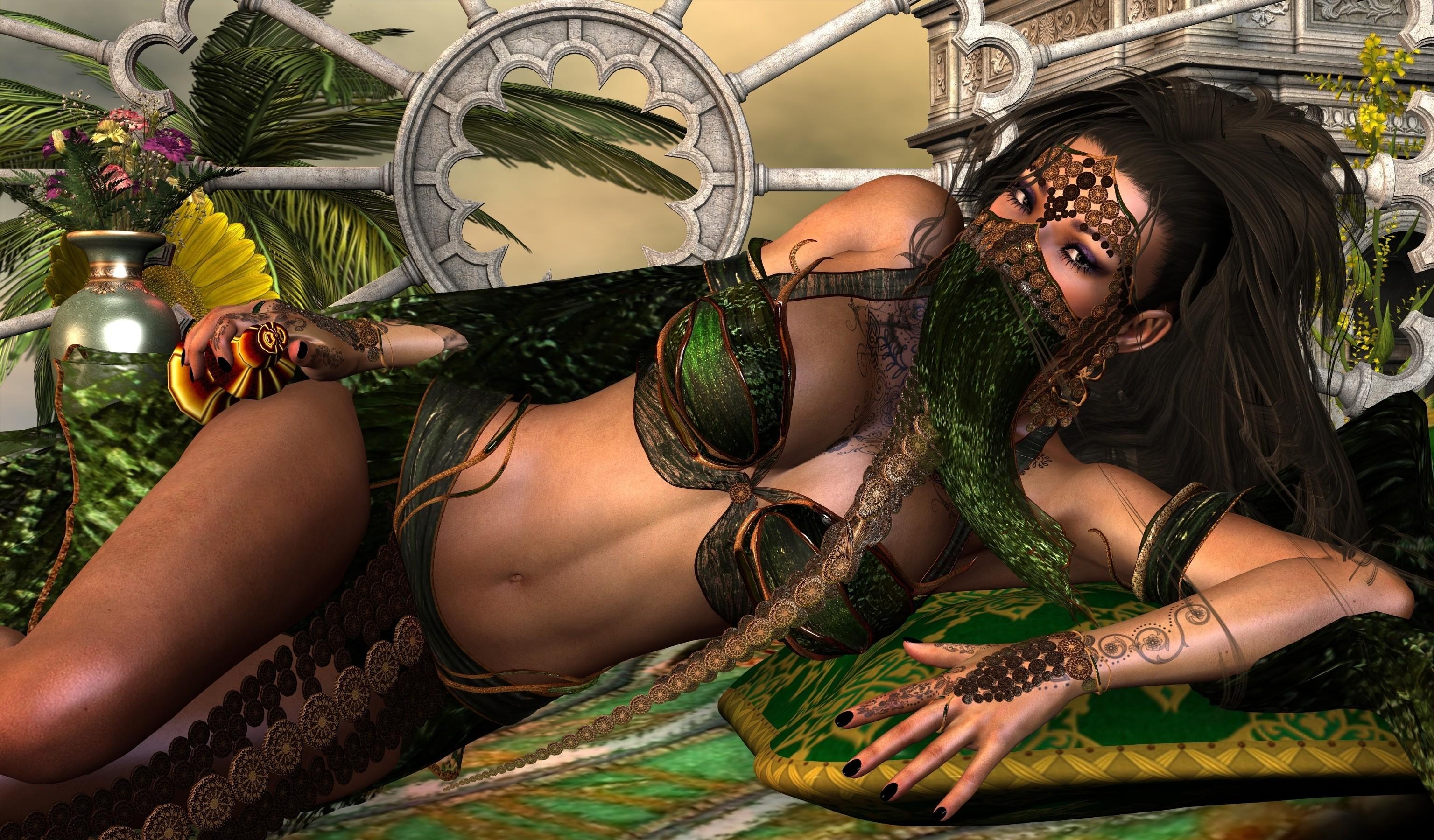 General 3072x1800 render digital art big boobs cleavage fantasy girl 3D