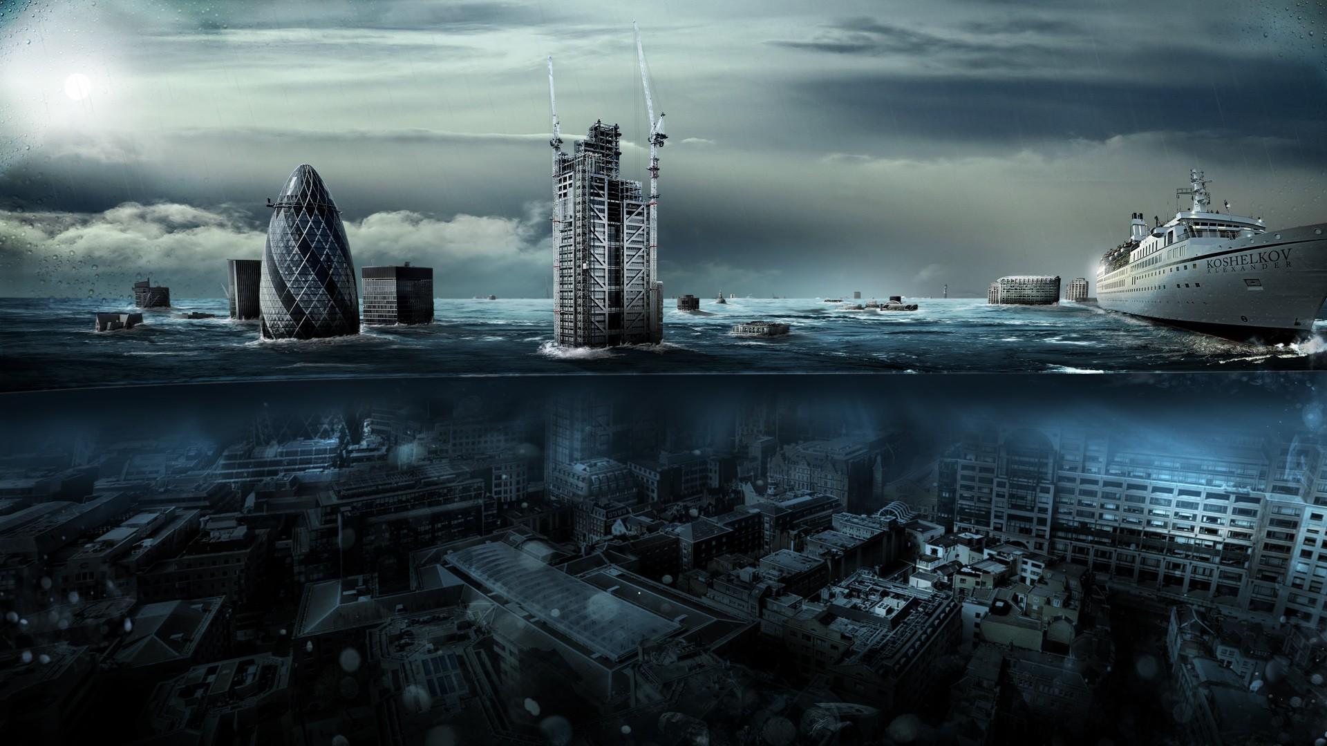 General 1920x1080 London England UK split view sunken cities digital art Alexander Koshelkov city Tsunami photo manipulation