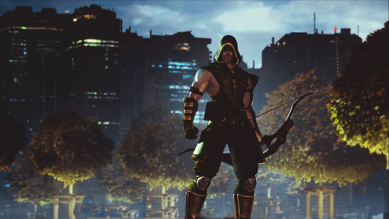 General 1366x768 video games men Arrow Green Arrow Injustice God's among us Netherrealm Studios screen shot bow hoods