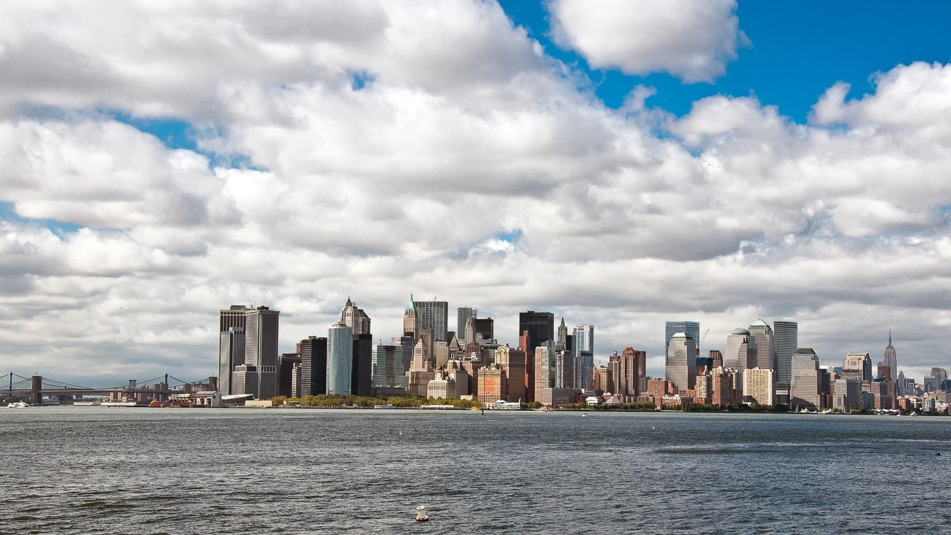 General 1920x1080 cityscape city architecture building clouds water bridge New York City USA skyscraper