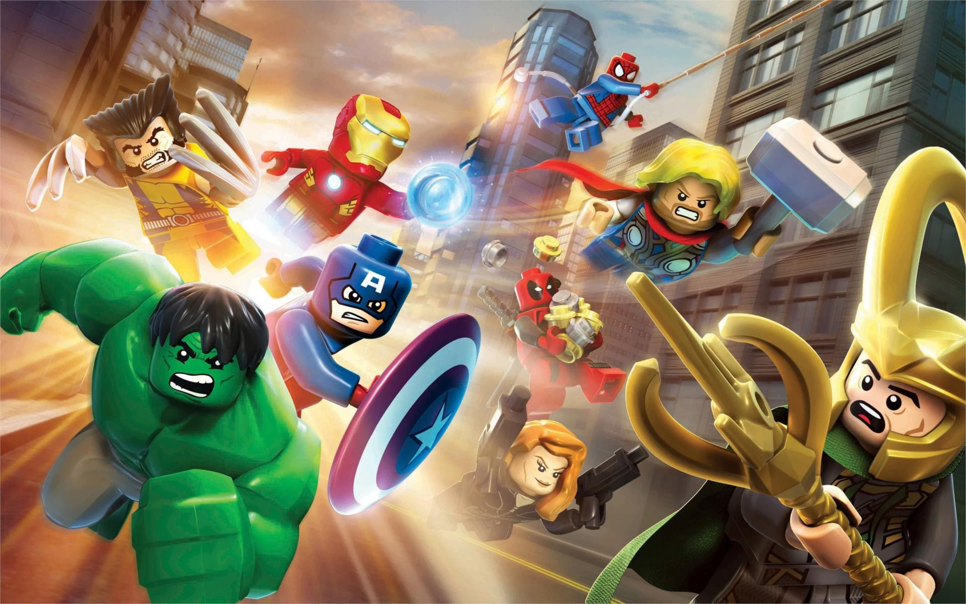 General 1920x1200 LEGO The Avengers Hulk Loki Iron Man Thor Wolverine Spider-Man Captain America Black Widow Deadpool