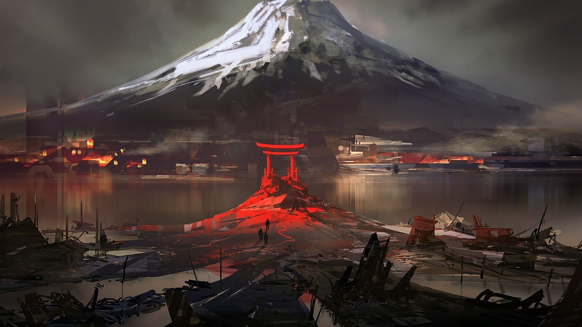 General 1920x1080 Japan Mount Fuji digital art nature landscape mountains snow winter water drawing house ruin torii