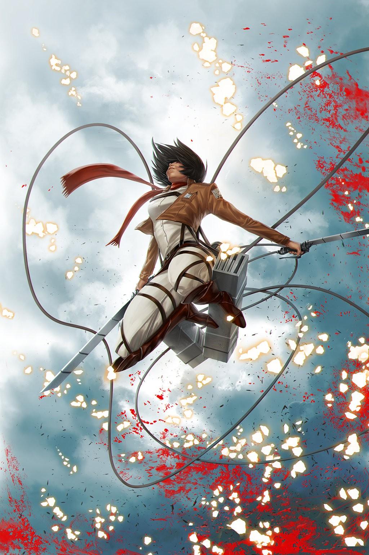 Anime 1024x1540 Mikasa Ackerman Shingeki no Kyojin anime girls anime dark hair brunette Jarreau Wimberly girls with swords sparks blood blood spatter