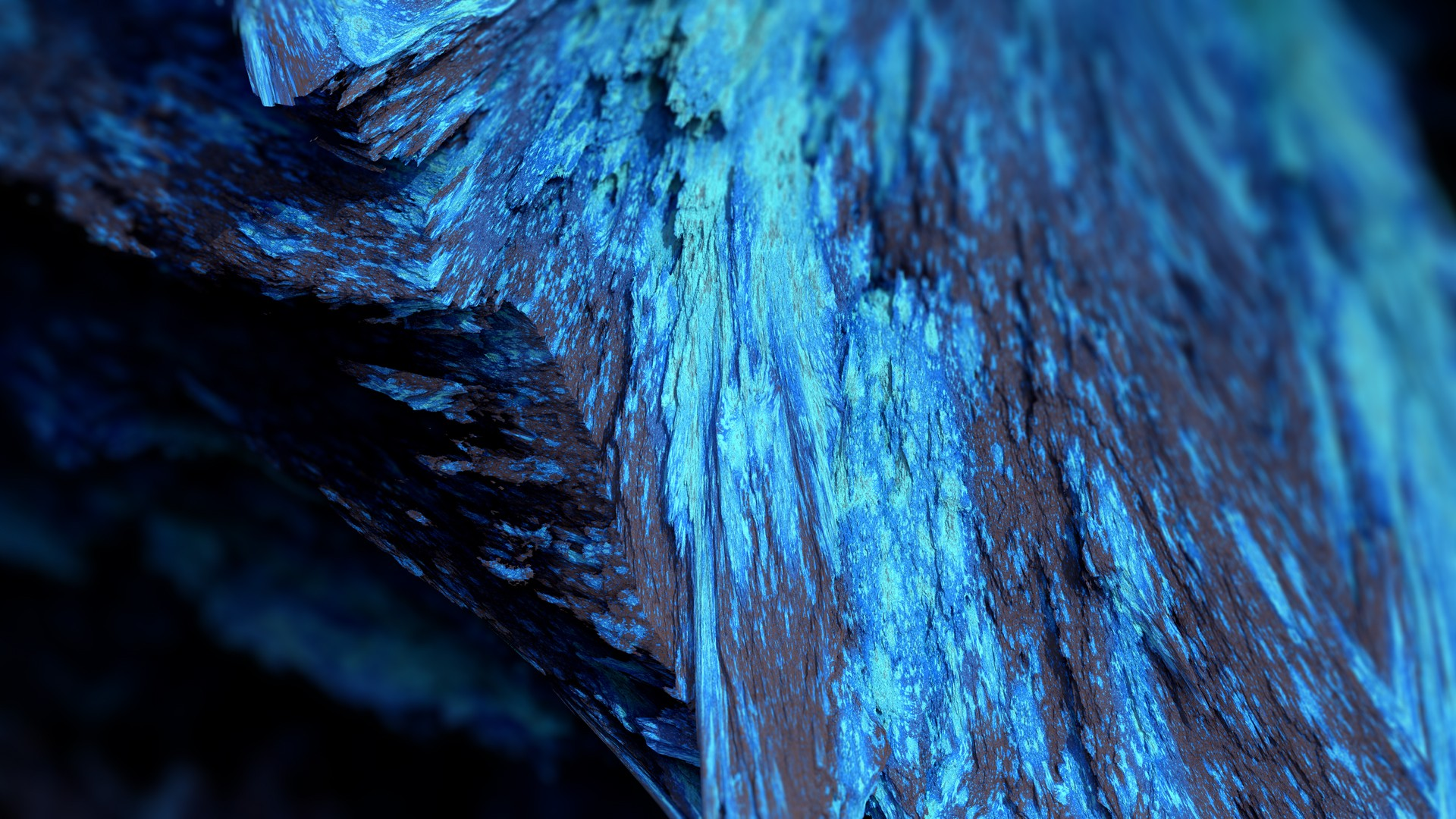 General 1920x1080 Procedural Minerals mineral blue depth of field abstract render CGI artwork digital art cyan