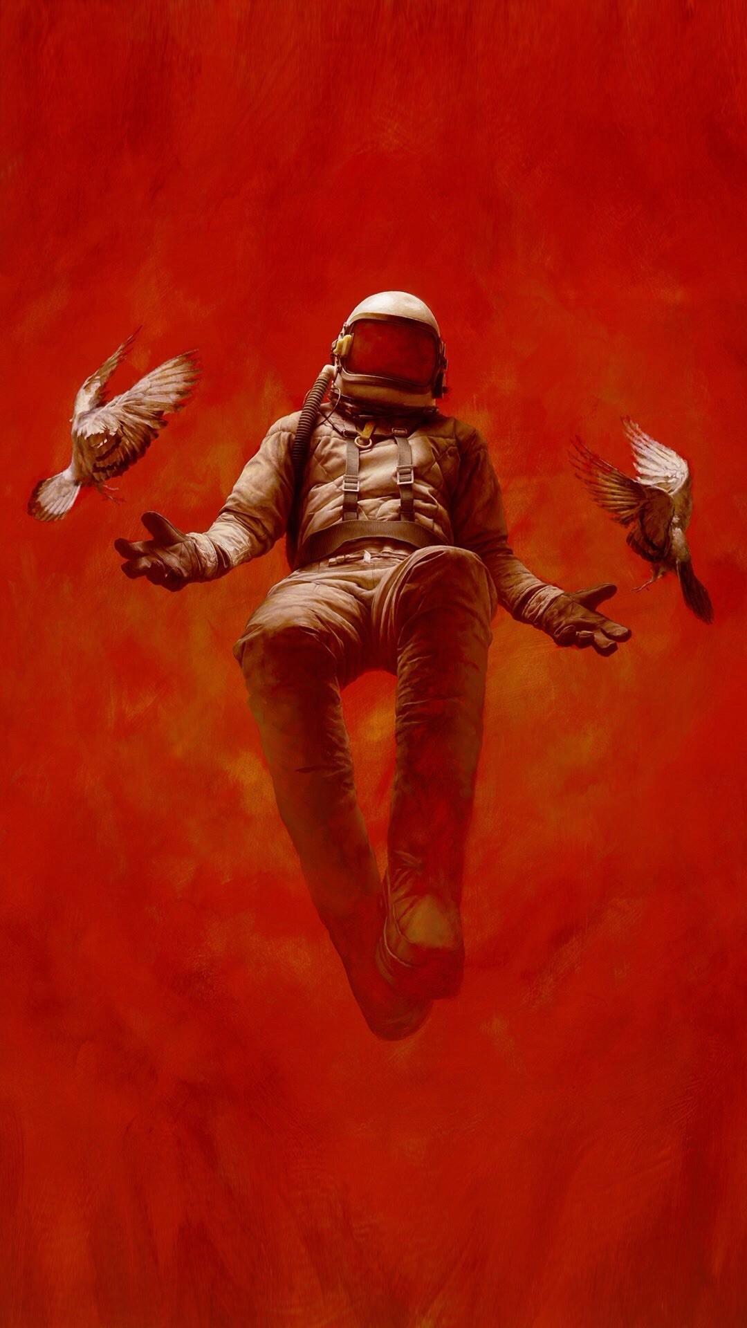 General 1080x1920 digital art portrait display simple background minimalism astronaut birds flying helmet spacesuit dove fire red background gloves artwork