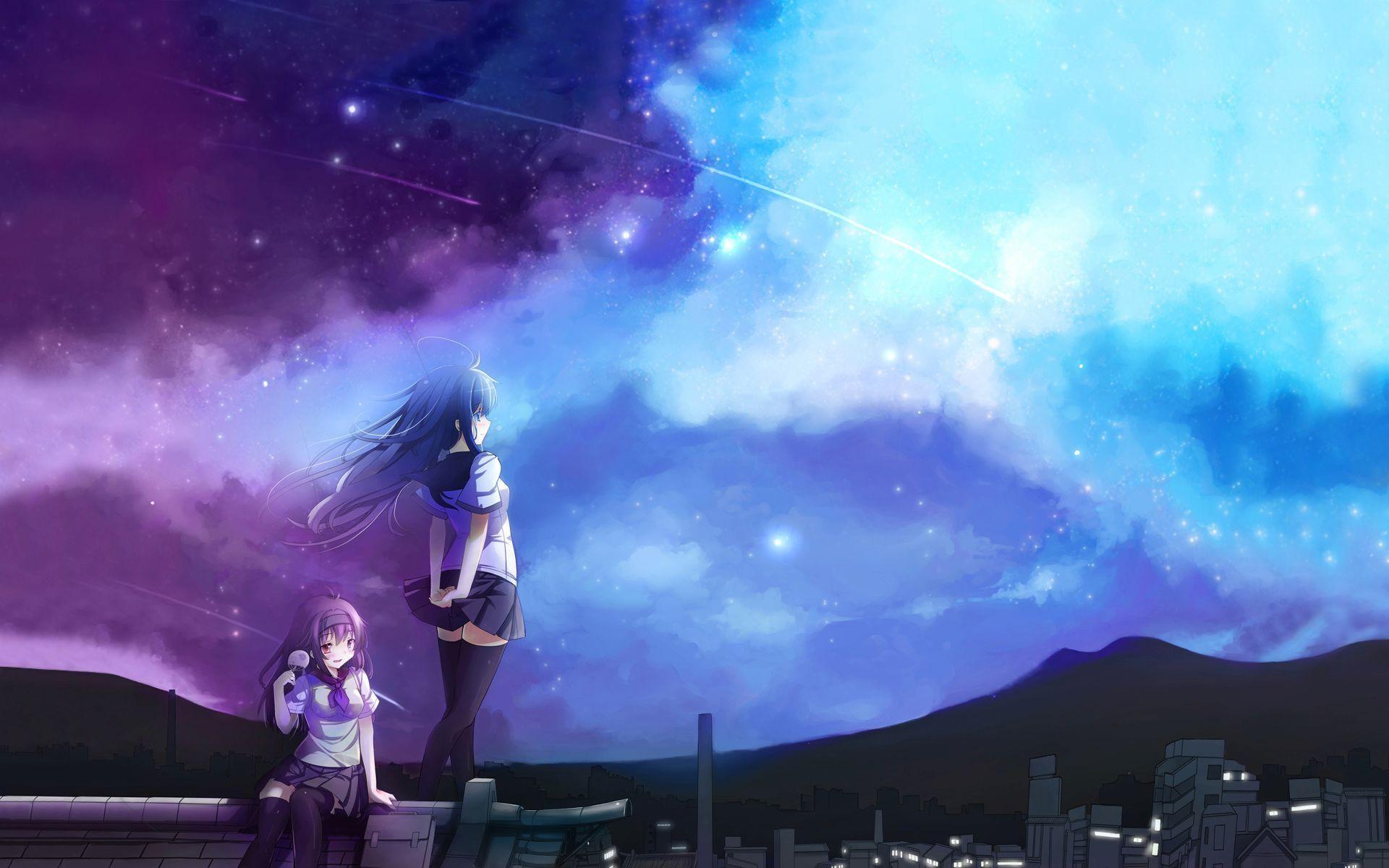 Anime 1920x1200 manga anime girls anime sky purple blue night sky miniskirt cyan