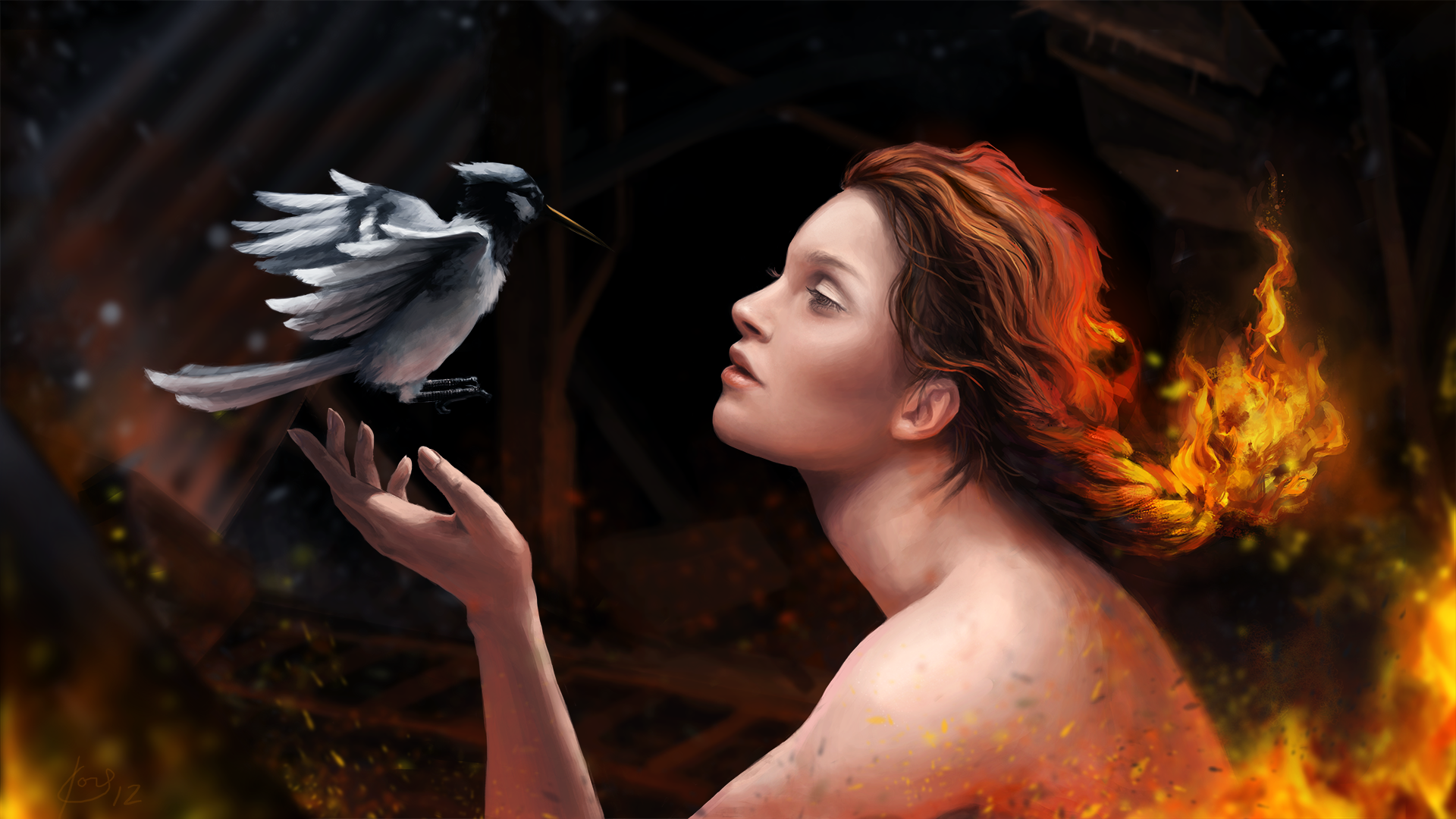 General 1920x1080 artwork birds women animals redhead fire