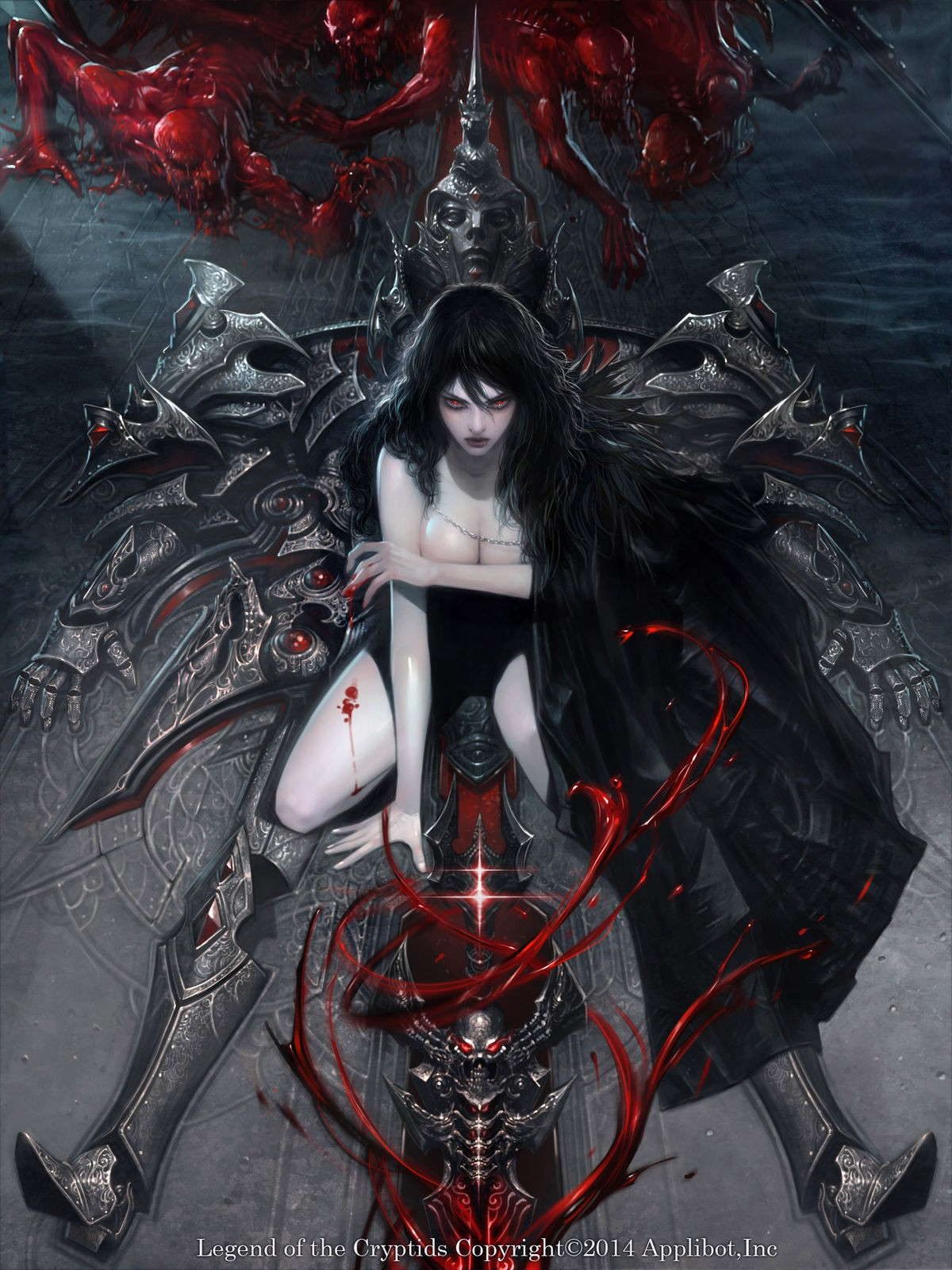 General 1200x1600 fantasy girl dark hair red eyes 2014 (Year) fantasy art Legend of the Cryptids high angle frontal view sword phallic symbol cleavage creature horns legs kneeling cape blood magic vertical portrait display watermarked