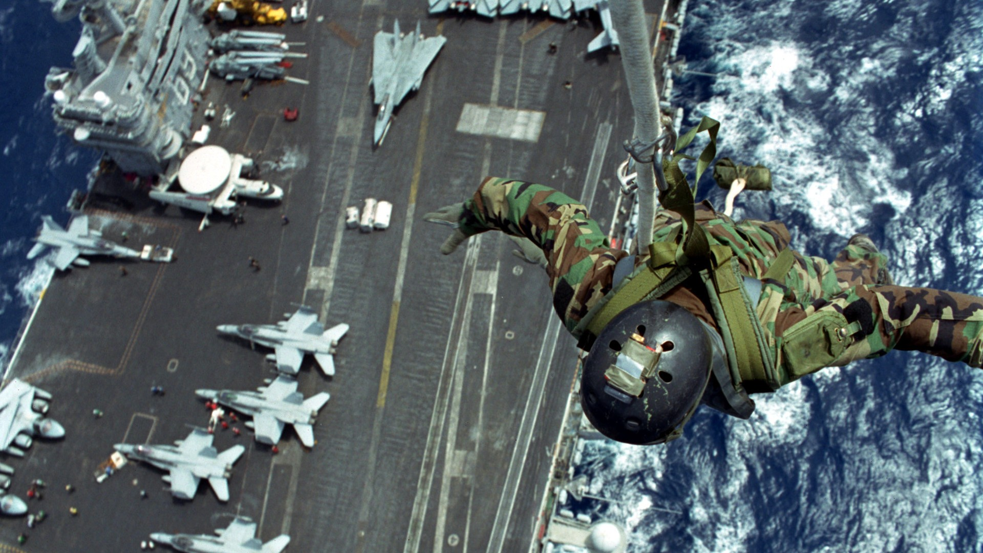 General 1920x1080 military soldier military aircraft aircraft carrier United States Navy paratroopers FA-18 Hornet Grumman F-14 Tomcat Grumman E-2 Hawkeye