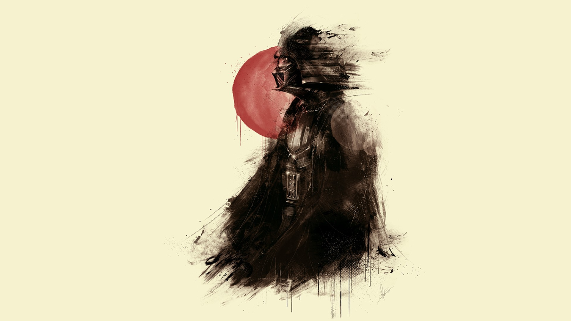 General 1920x1080 red sun Darth Vader red artwork Sith simple background minimalism fantasy art fan art