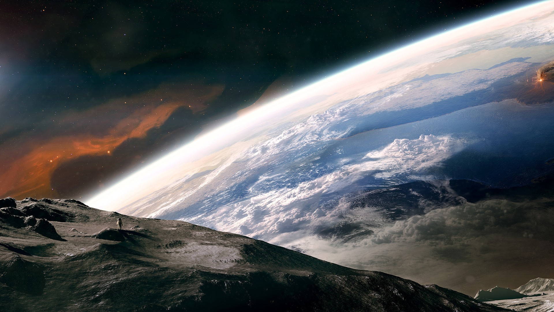General 1920x1080 space Earth planet Moon universe photo manipulation stars clouds astronaut artwork nebula continents atmosphere space art digital art
