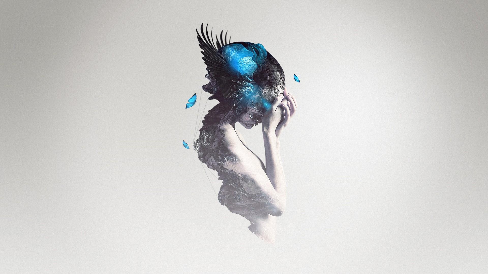 General 1920x1080 blue women fantasy girl simple background digital art butterfly