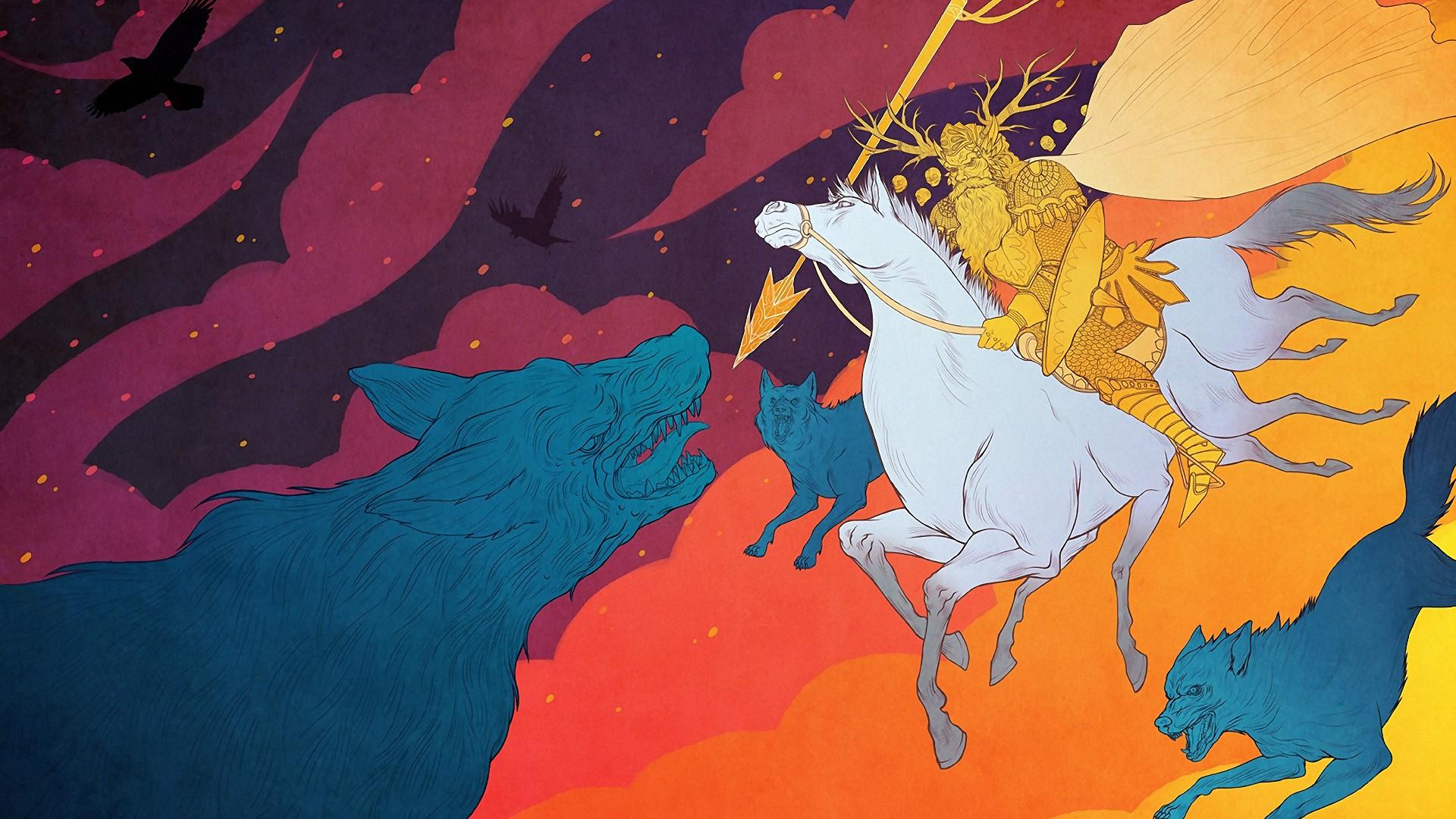 General 1920x1080 horse riding Odin Odin Huginn Muninn Fenris Sleipnir Huginn Muninn Gungnir Sleipnir Fenris digital art wolf warrior painting Odin Vikings artwork colorful raven horse mythology