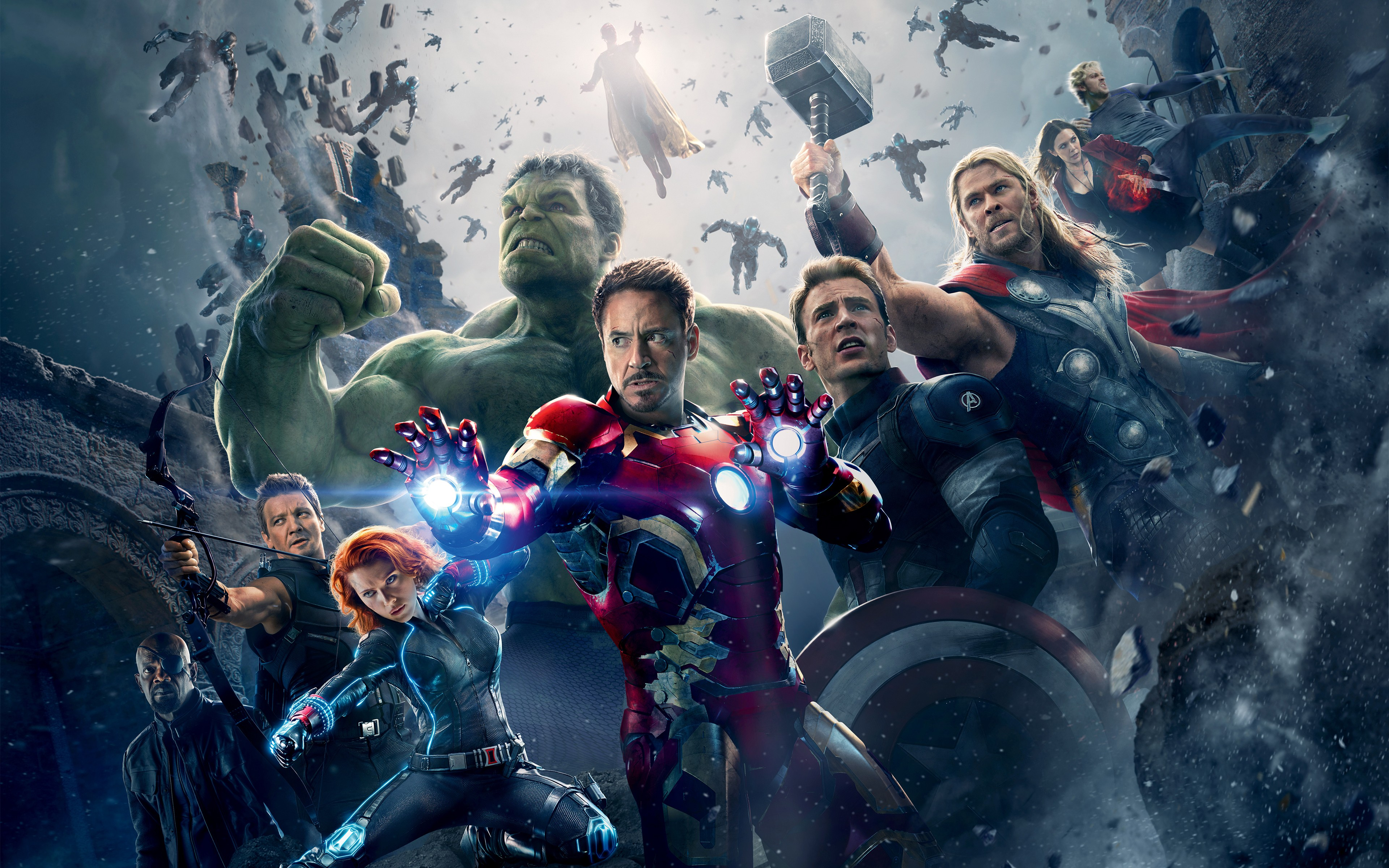 General 3840x2400 The Avengers Avengers: Age of Ultron Thor Hulk Iron Man Captain America Black Widow Hawkeye Tony Stark Scarlet Witch Quicksilver Nick Fury The Vision Scarlett Johansson Elizabeth Olsen