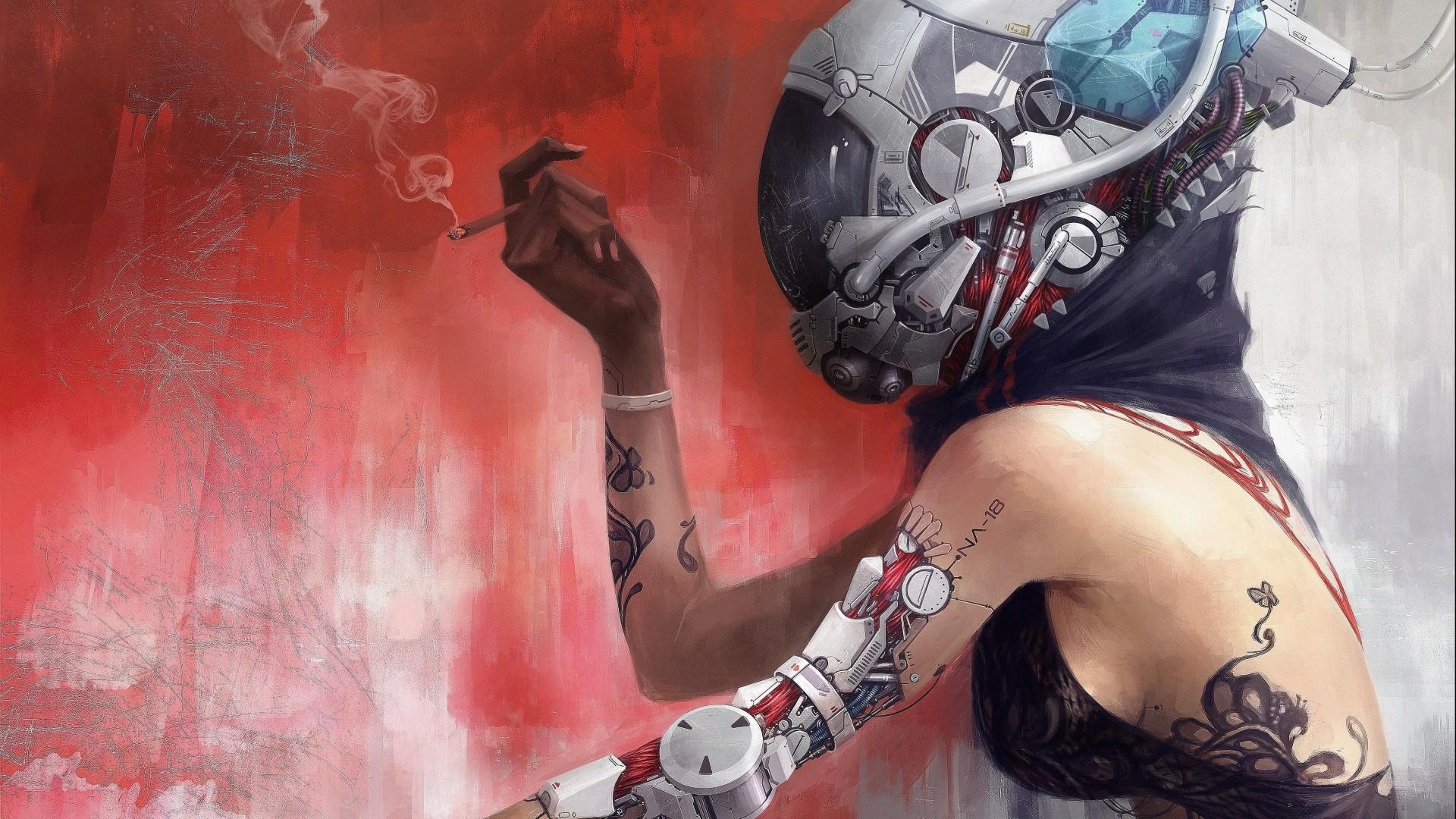 General 1920x1080 cyborg technology cigarettes bare shoulders pipes tattoo bionics soft shading digital art wires smoke cyberpunk futuristic helmet sideboob fictional characters