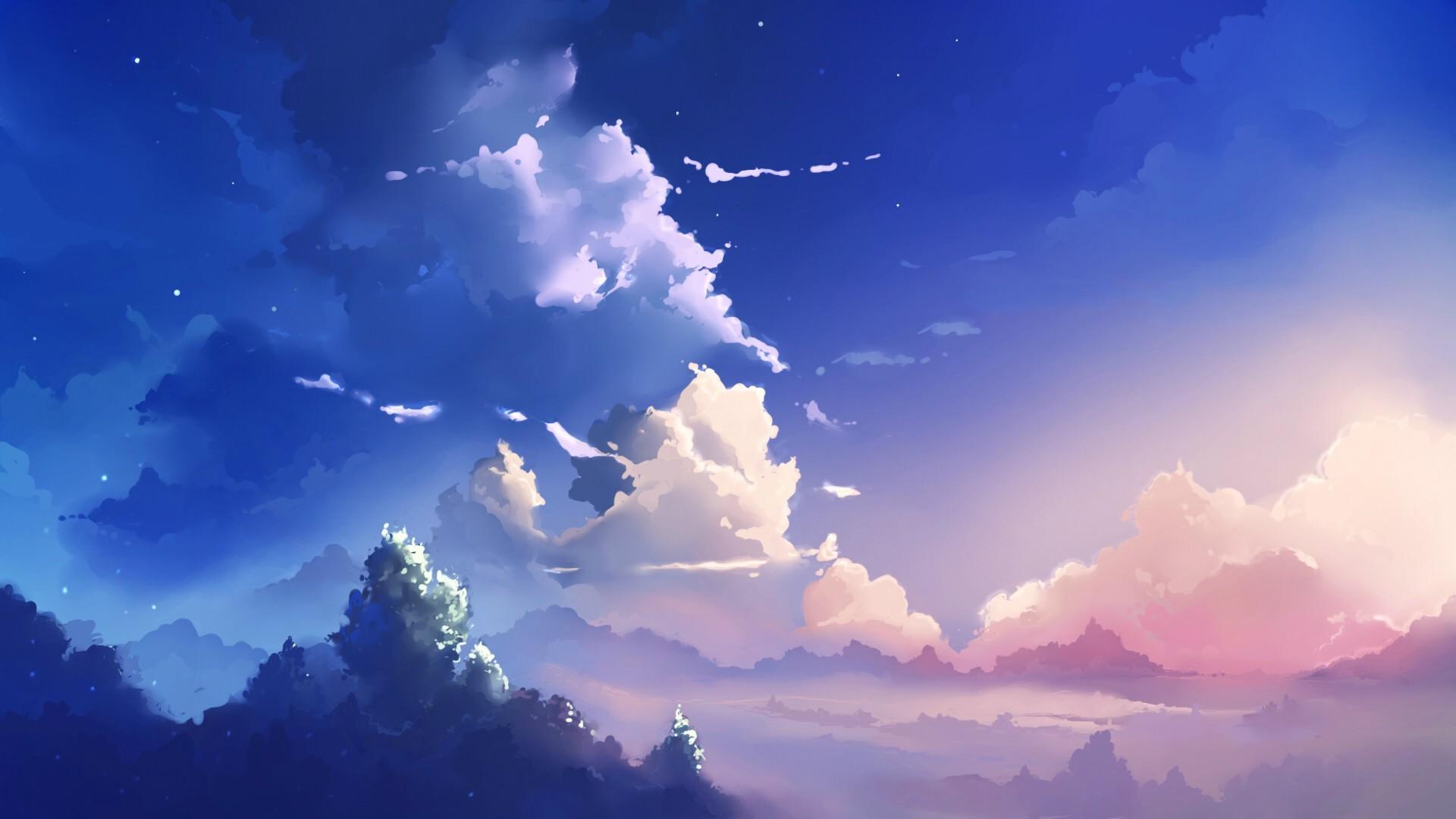 Anime 1920x1080 5 Centimeters Per Second anime Makoto Shinkai  sky clouds pink peaceful artwork nature outdoors