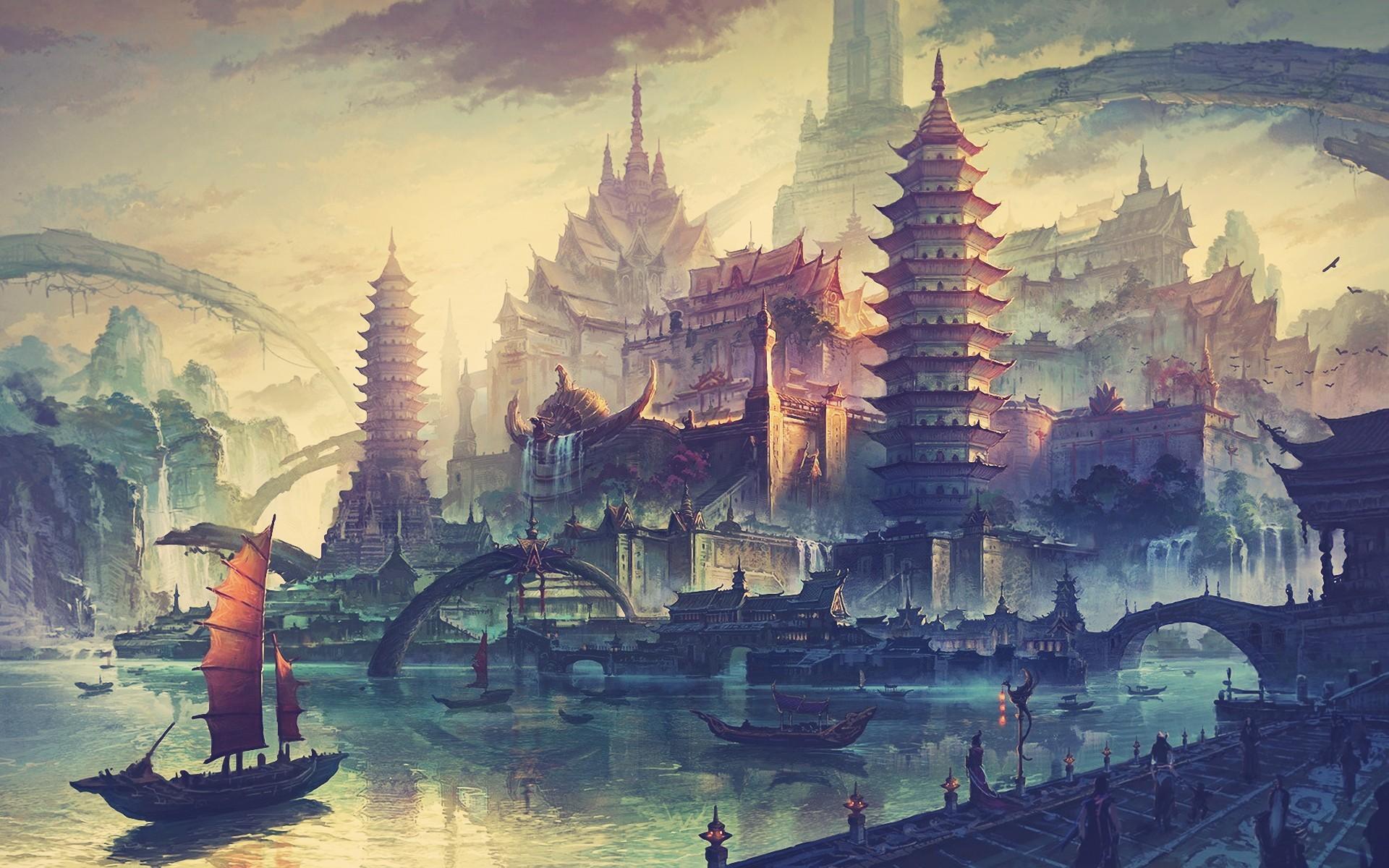 General 1920x1200 artwork boat Asian architecture fantasy art fantasy city China Town drawing ancient