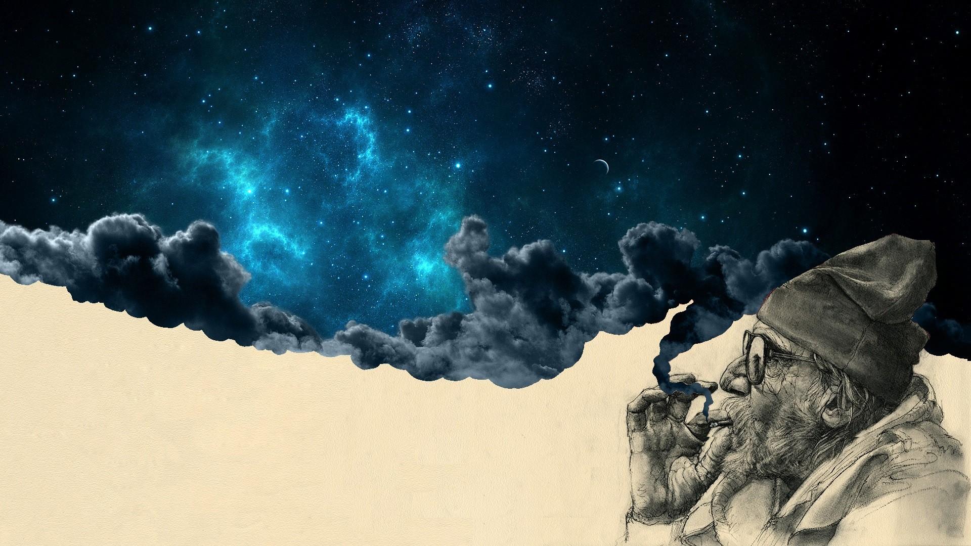 General 1920x1080 surreal space men old people night sky digital art space art artwork smoking