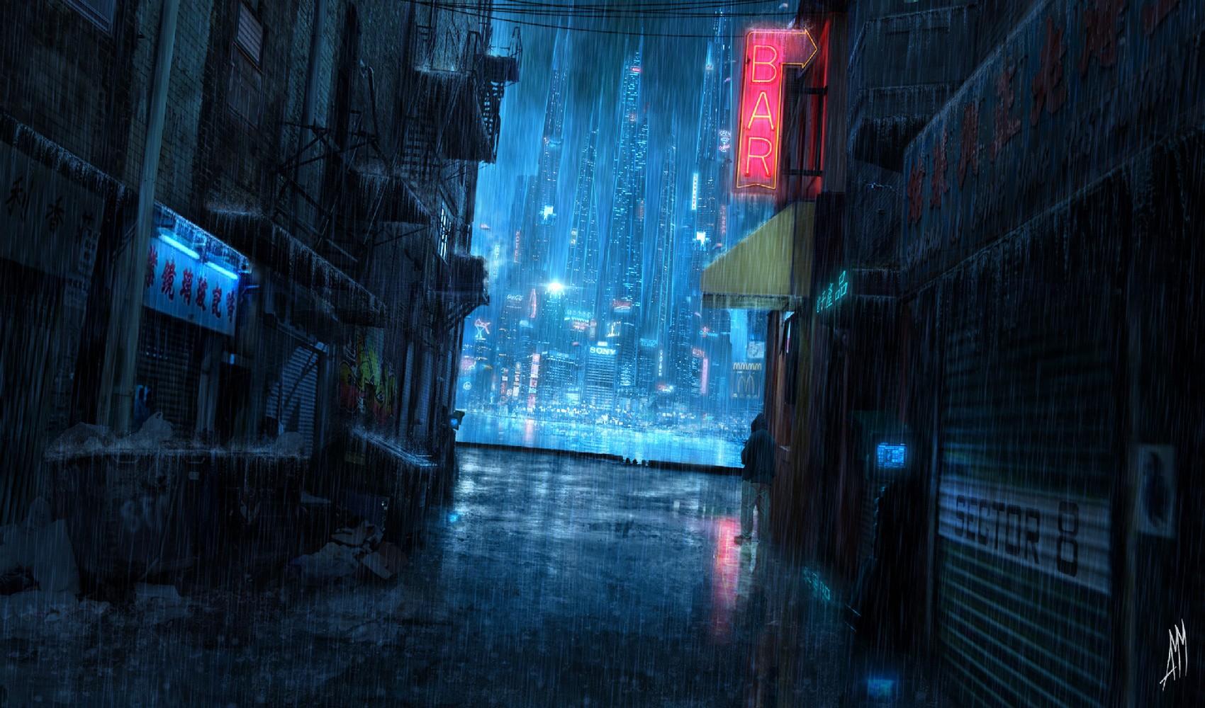 General 1700x1000 rain night cyberpunk futuristic city science fiction futuristic cityscape apocalyptic cyan