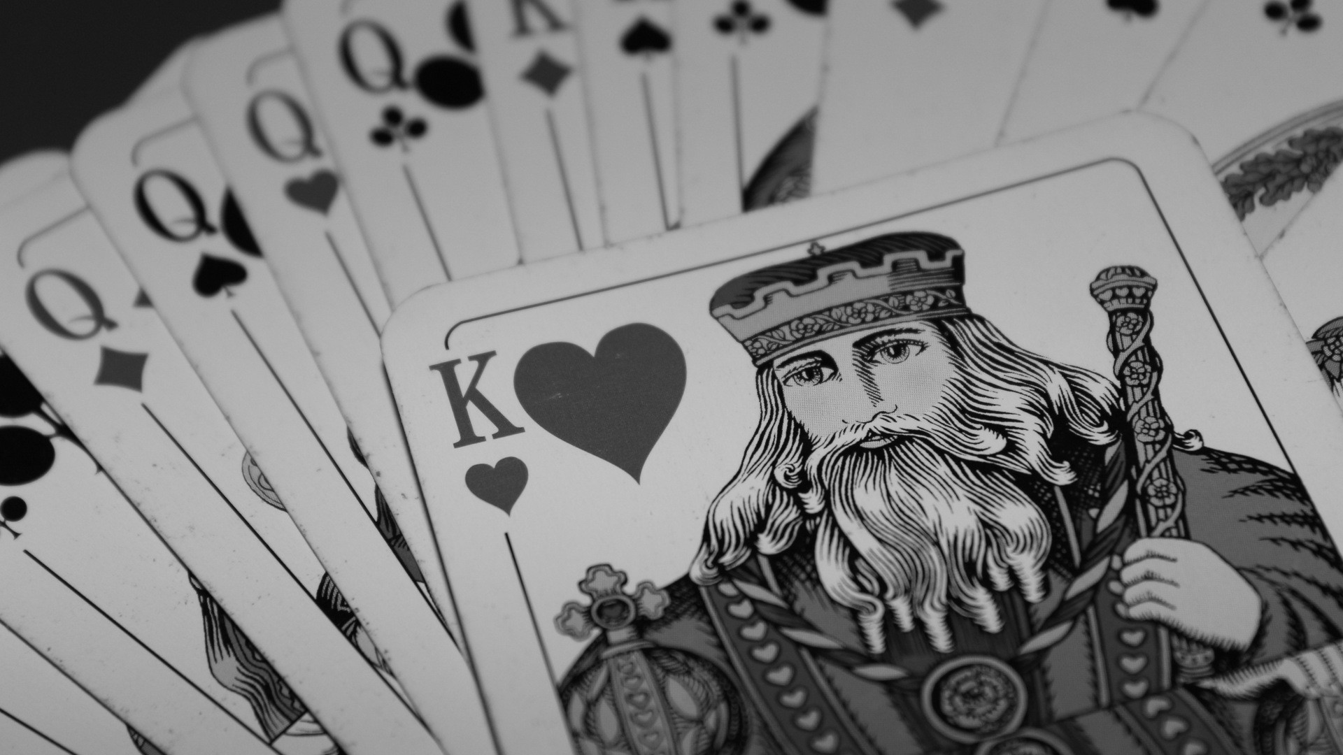 General 1920x1080 playing cards king monochrome