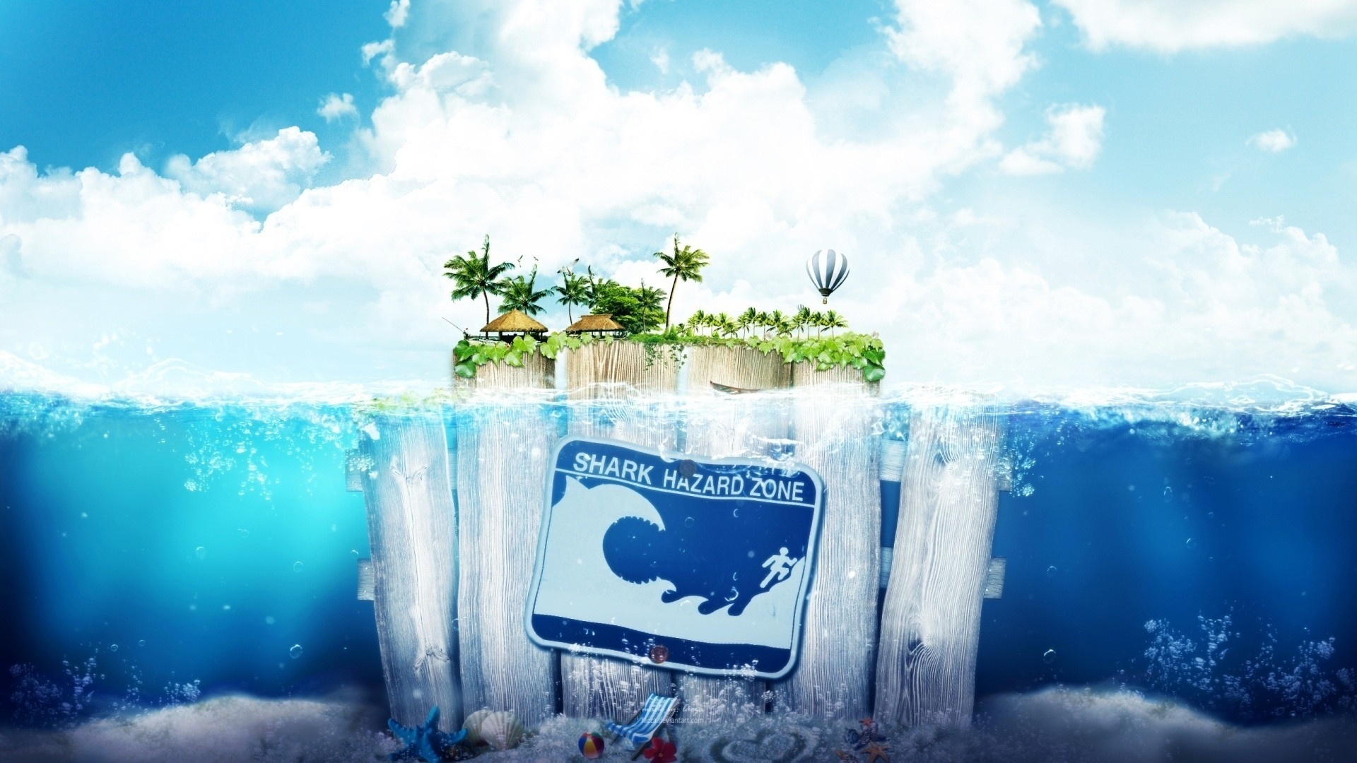 General 1920x1080 digital art fantasy art water sea underwater fence wood bubbles deck chairs palm trees island nature warning signs shark humor waves clouds hot air balloons house leaves starfish ball seashell sand