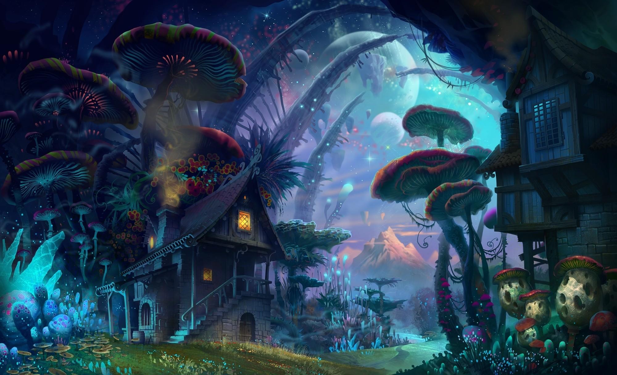 General 2000x1216 fantasy art artwork colorful mushroom plants nature house