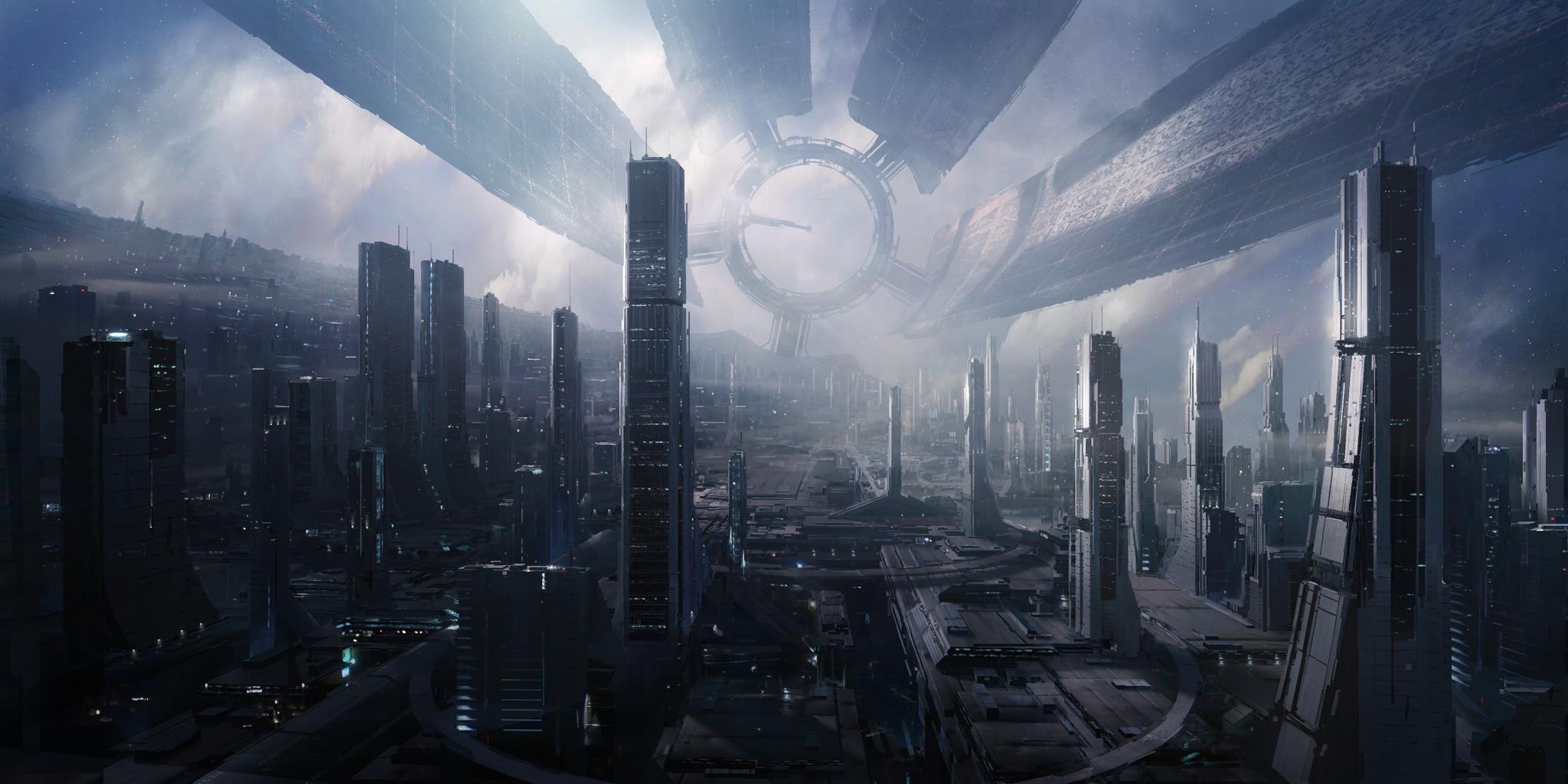 General 2048x1024 Mass Effect Citadel futuristic city cityscape video games Citadel (Mass Effect) science fiction