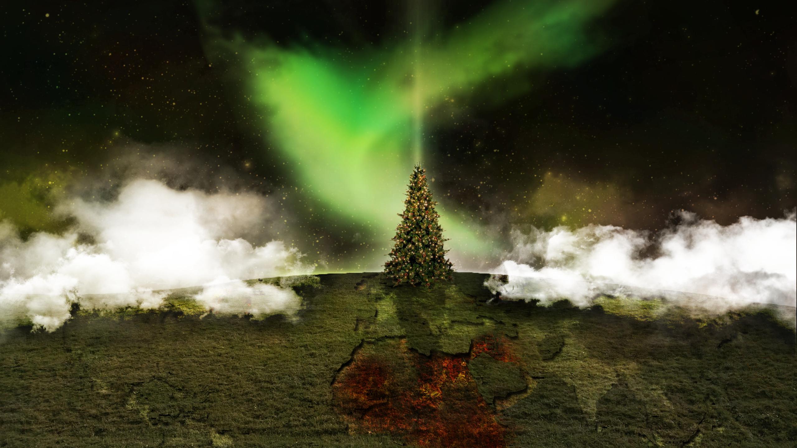 General 2560x1440 Christmas Tree digital art sky night sky