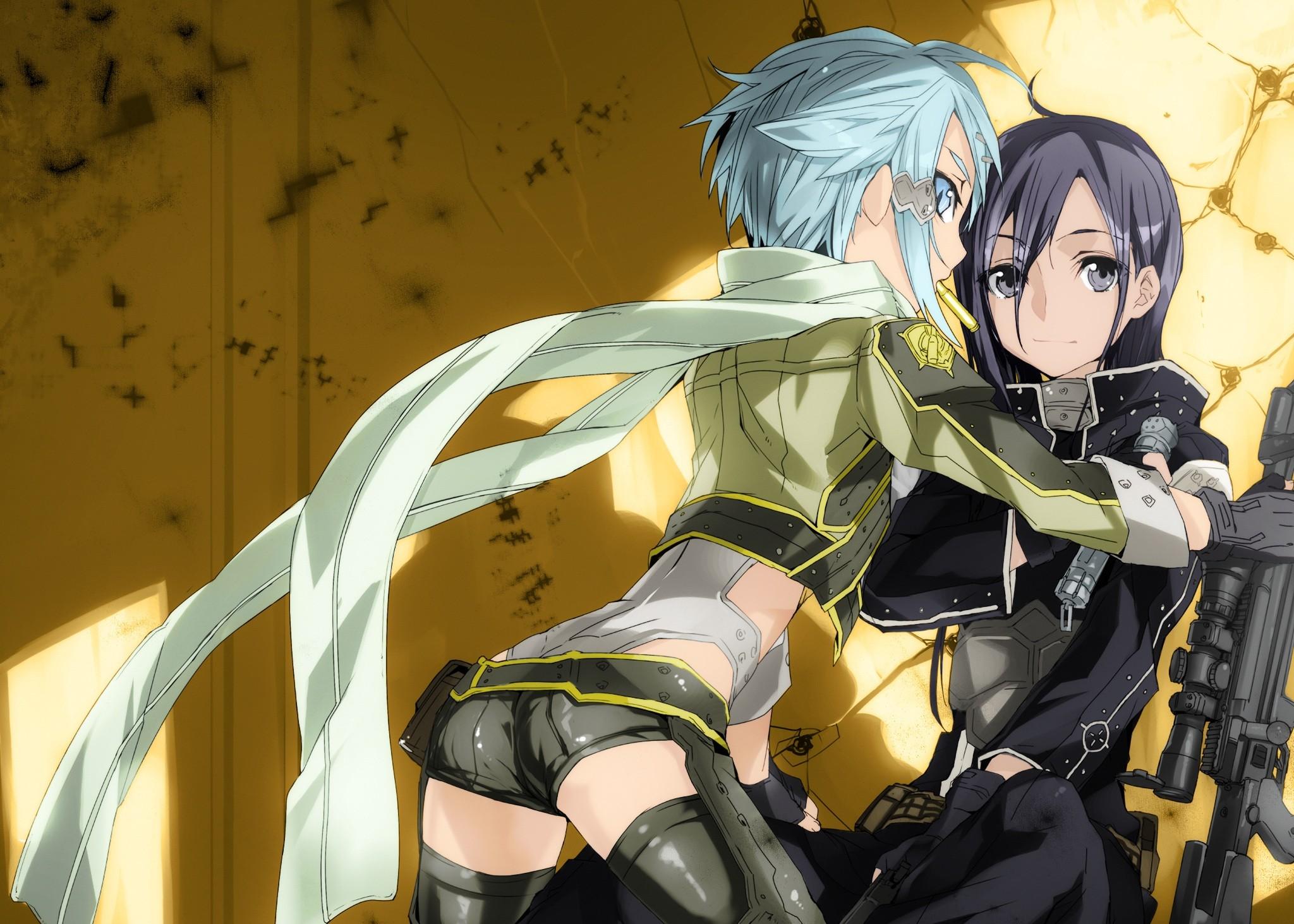 Anime 2048x1463 anime anime girls Sword Art Online Kirigaya Kazuto Asada Shino