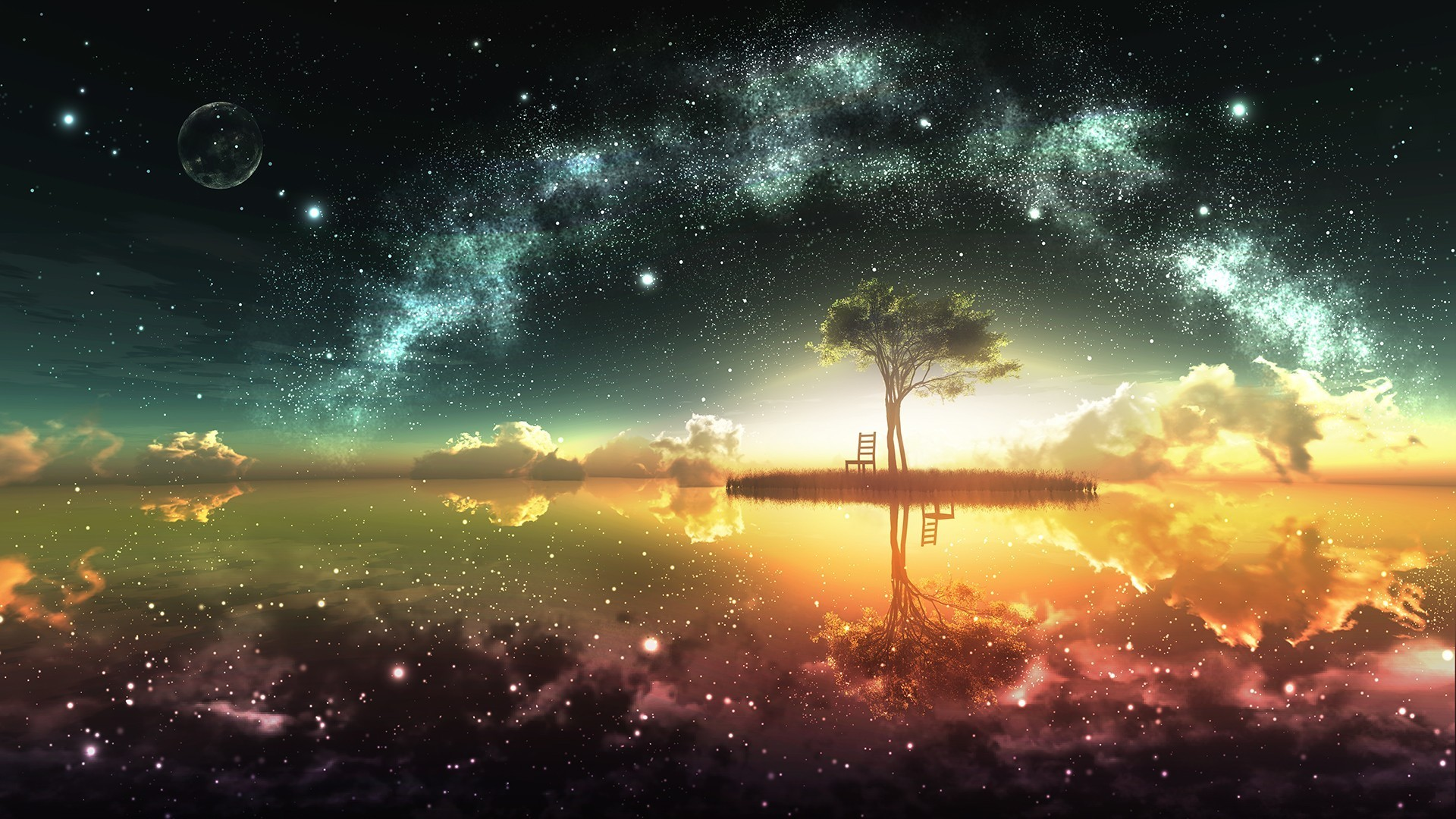 General 1920x1080 sky lake fantasy art colorful digital art trees space space art stars artwork reflection anime water chair Moon island clouds sunset bonsai
