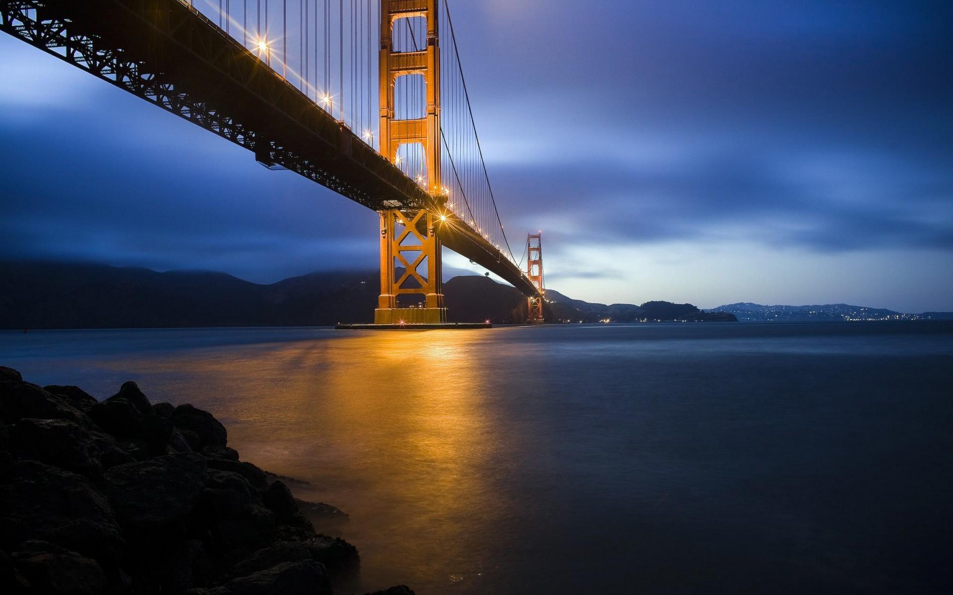 General 1920x1200 bridge suspension bridge Golden Gate Bridge dusk street light