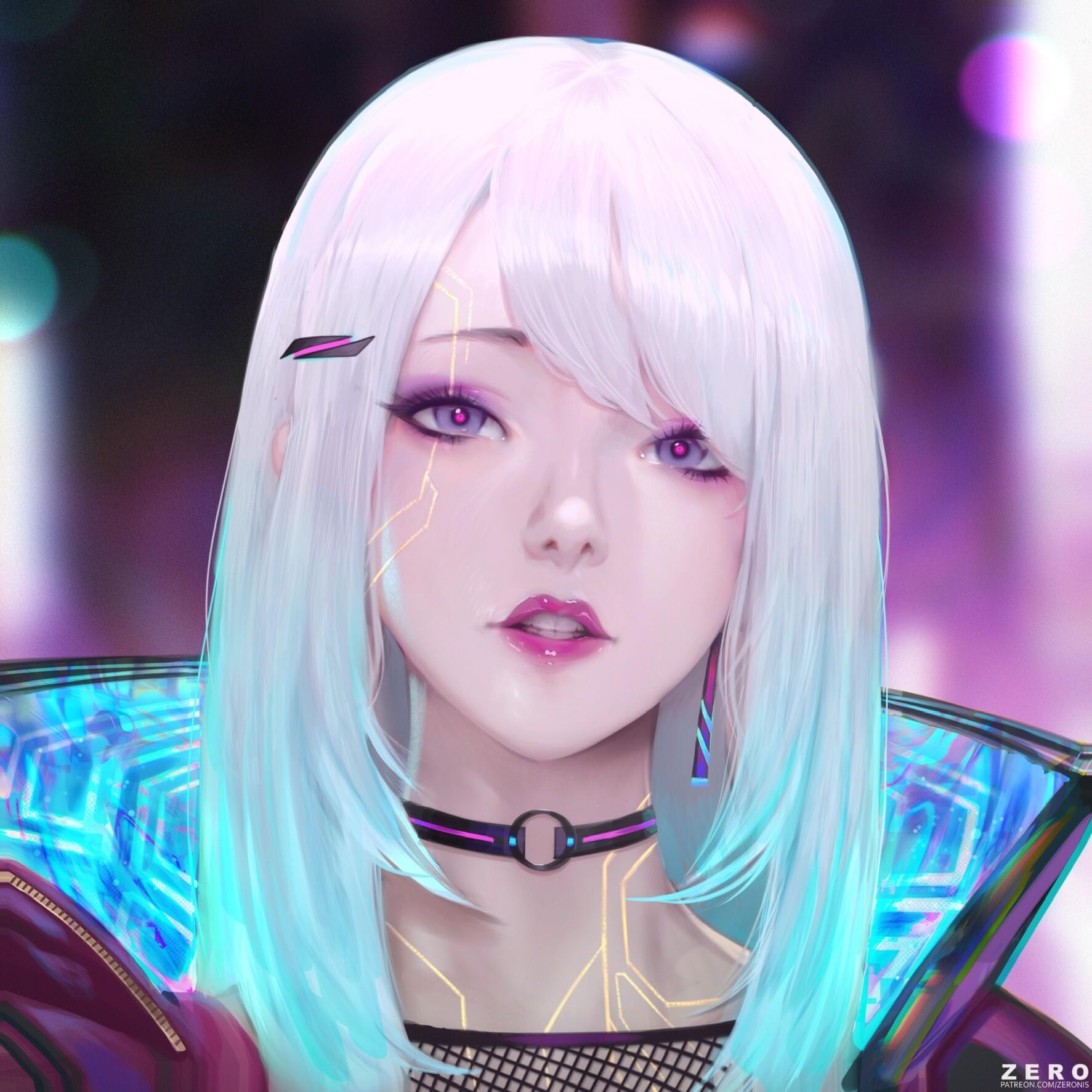 General 1773x1773 drawing women silver hair bangs purple eyes circuit lipstick makeup choker jacket neon glow lens flare cyberpunk Zeronis cyan