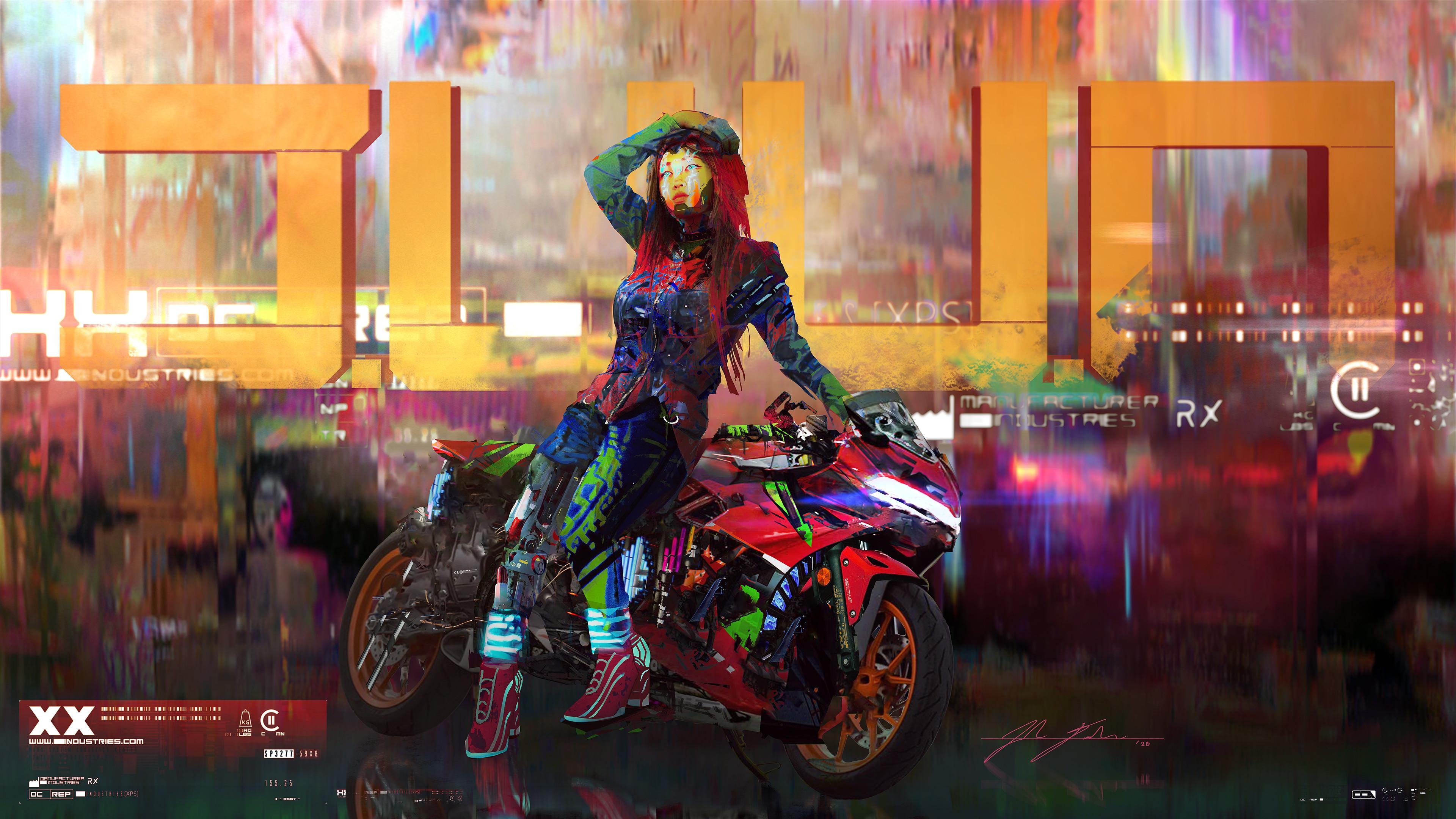 General 3840x2160 Josh Durham cyborg video games women digital painting fan art motorcycle digital art hand on head cyberpunk video game art Cyberpunk 2077 artwork colorful video game girls ArtStation