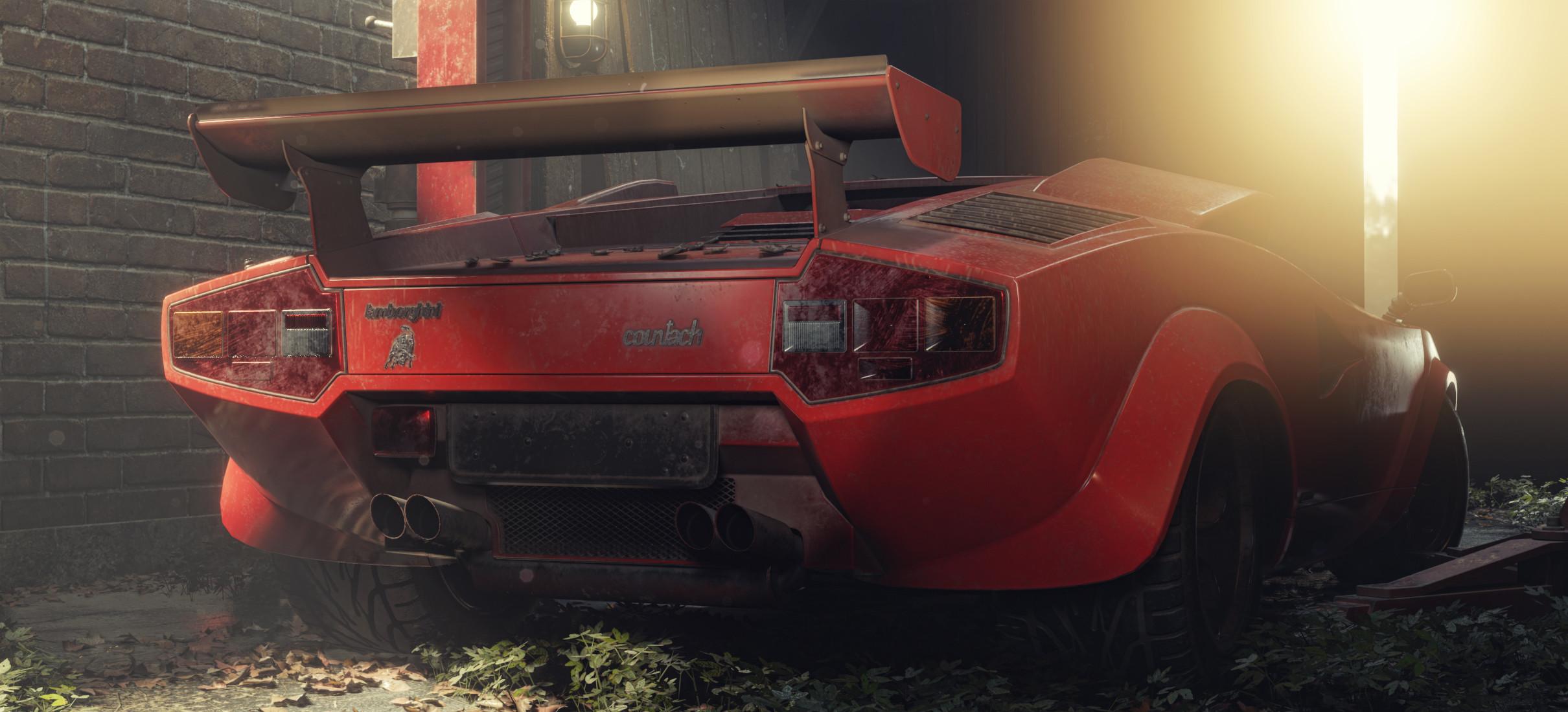 General 2420x1100 Pavel Golubev car vehicle Lamborghini Lamborghini Countach digital art red cars