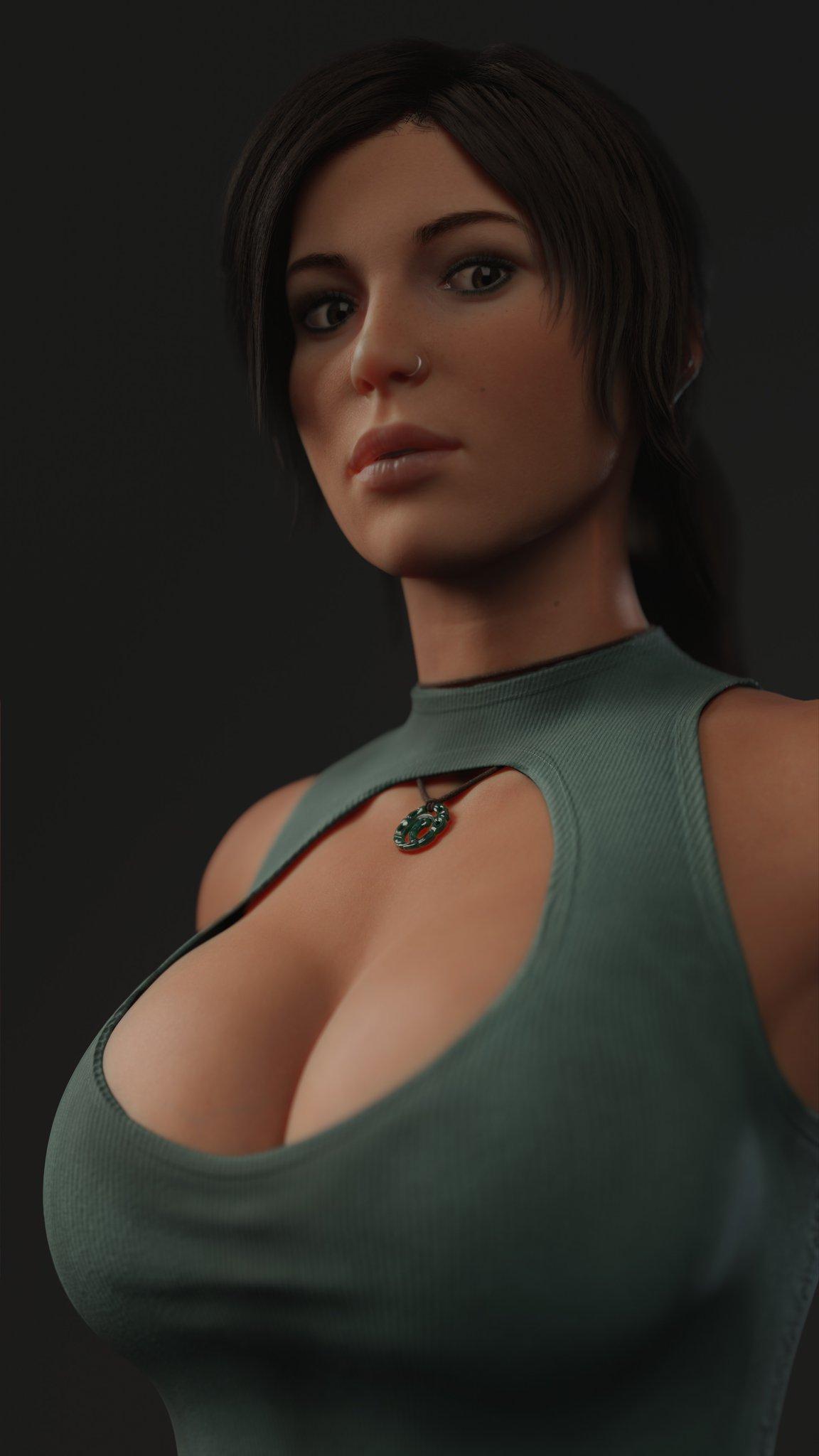 General 1152x2048 Lara Croft Wildeer studio cleavage