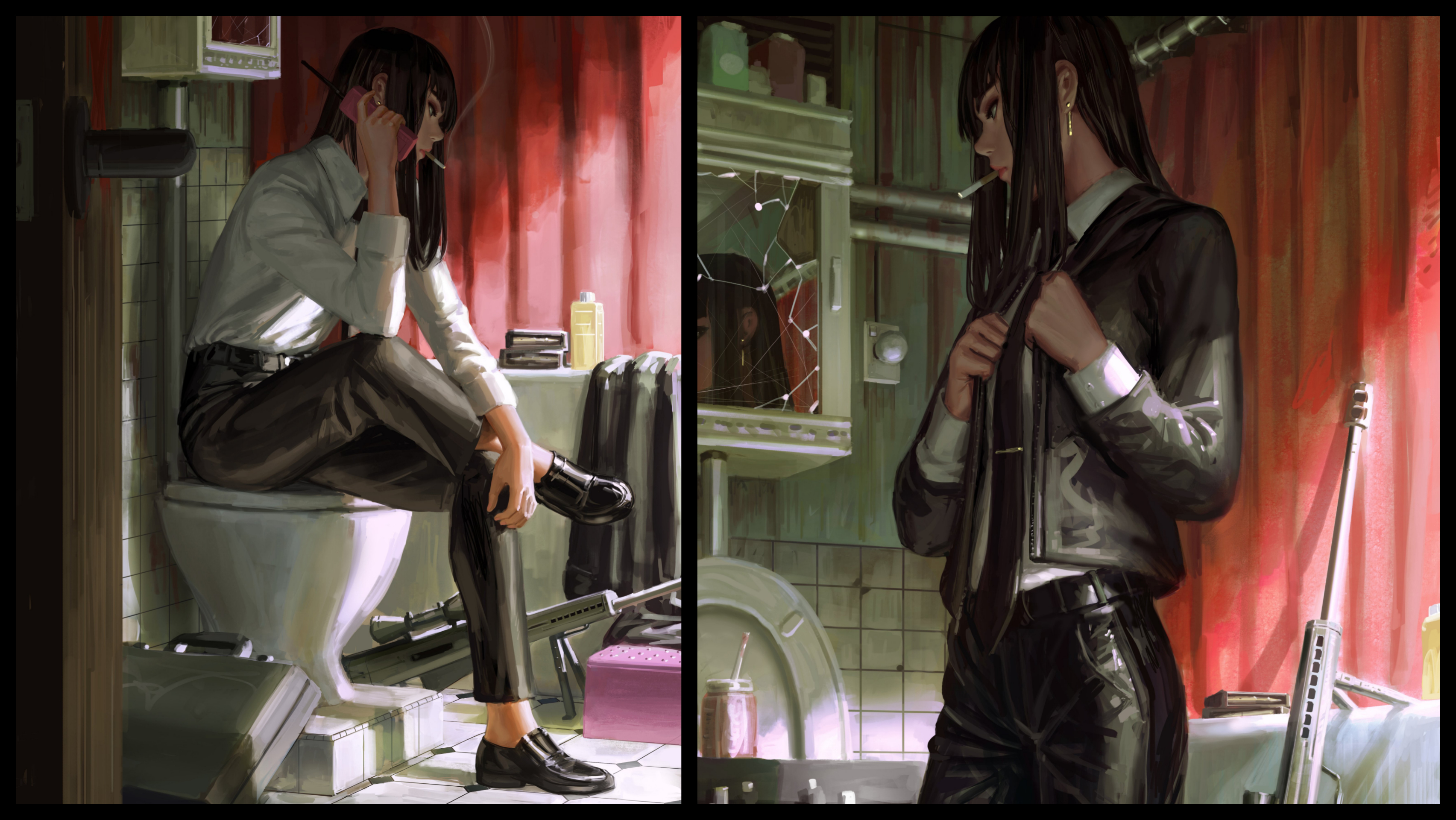 General 3409x1920 anime girls original characters Bad guys GUWEIZ smoking