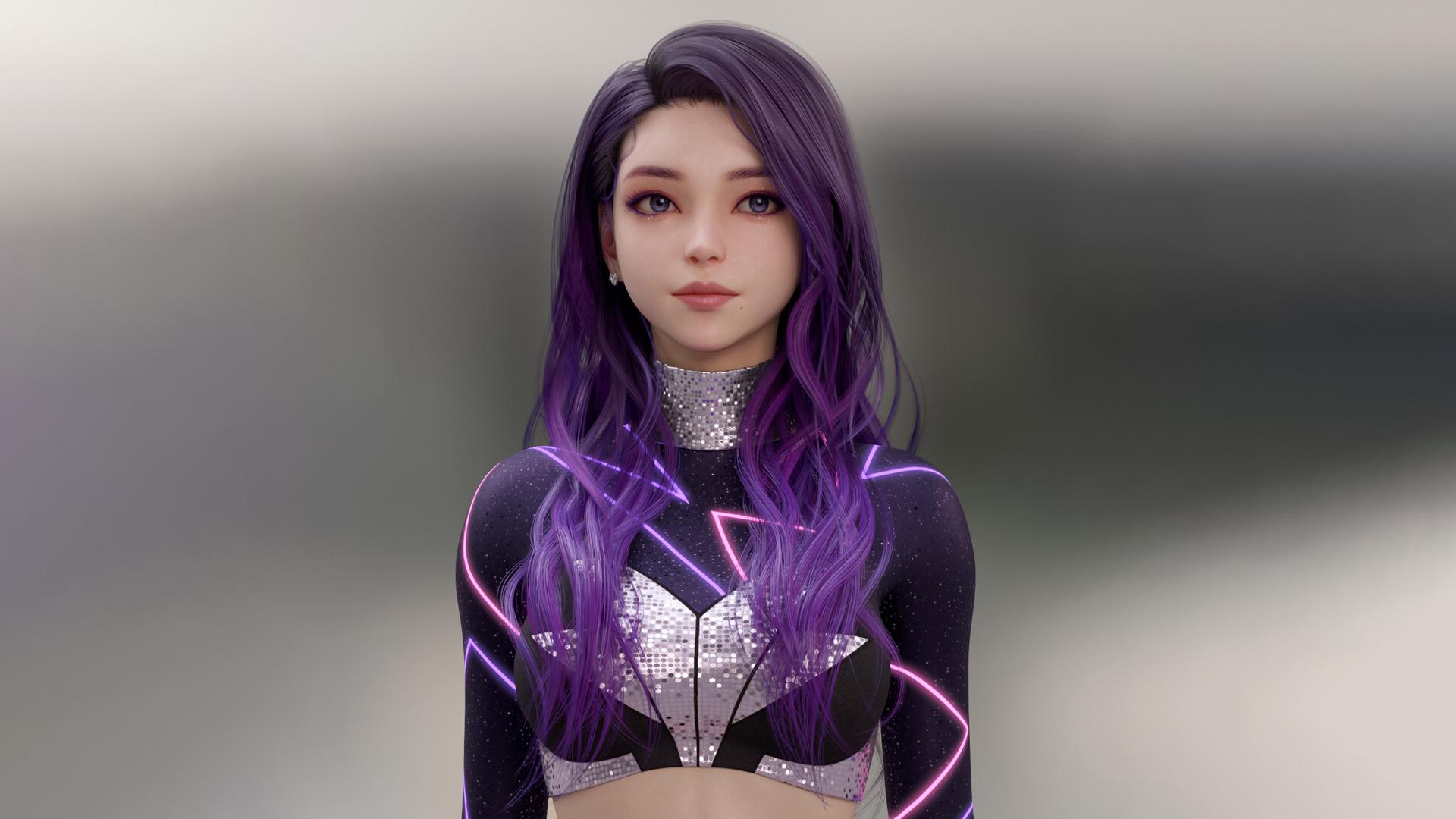 General 1920x1080 Shin JeongHo CGI women purple hair long hair purple eyes earring neon glow blouse glitter purple clothing simple background