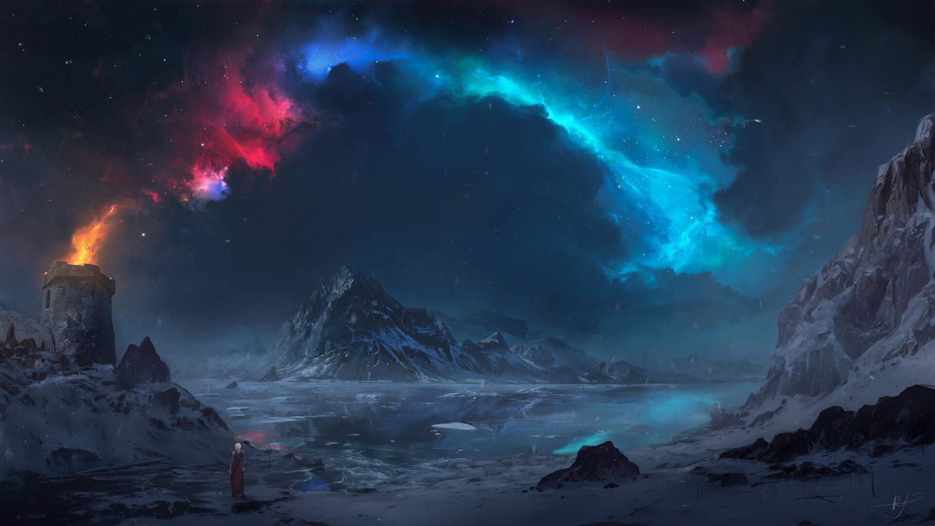General 1920x1080 Max Suleimanov digital art landscape winter snow water aurorae mountains