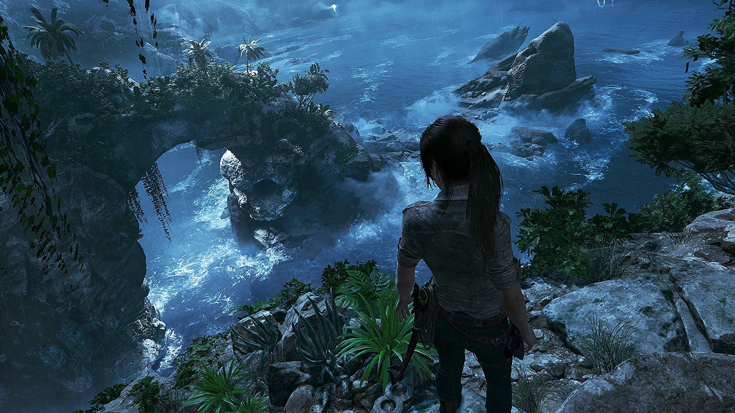General 2500x1406 Shadow of the Tomb Raider Tomb Raider 2018 video games water Tomb Raider screen shot rock coast cliff Lara Croft PC gaming