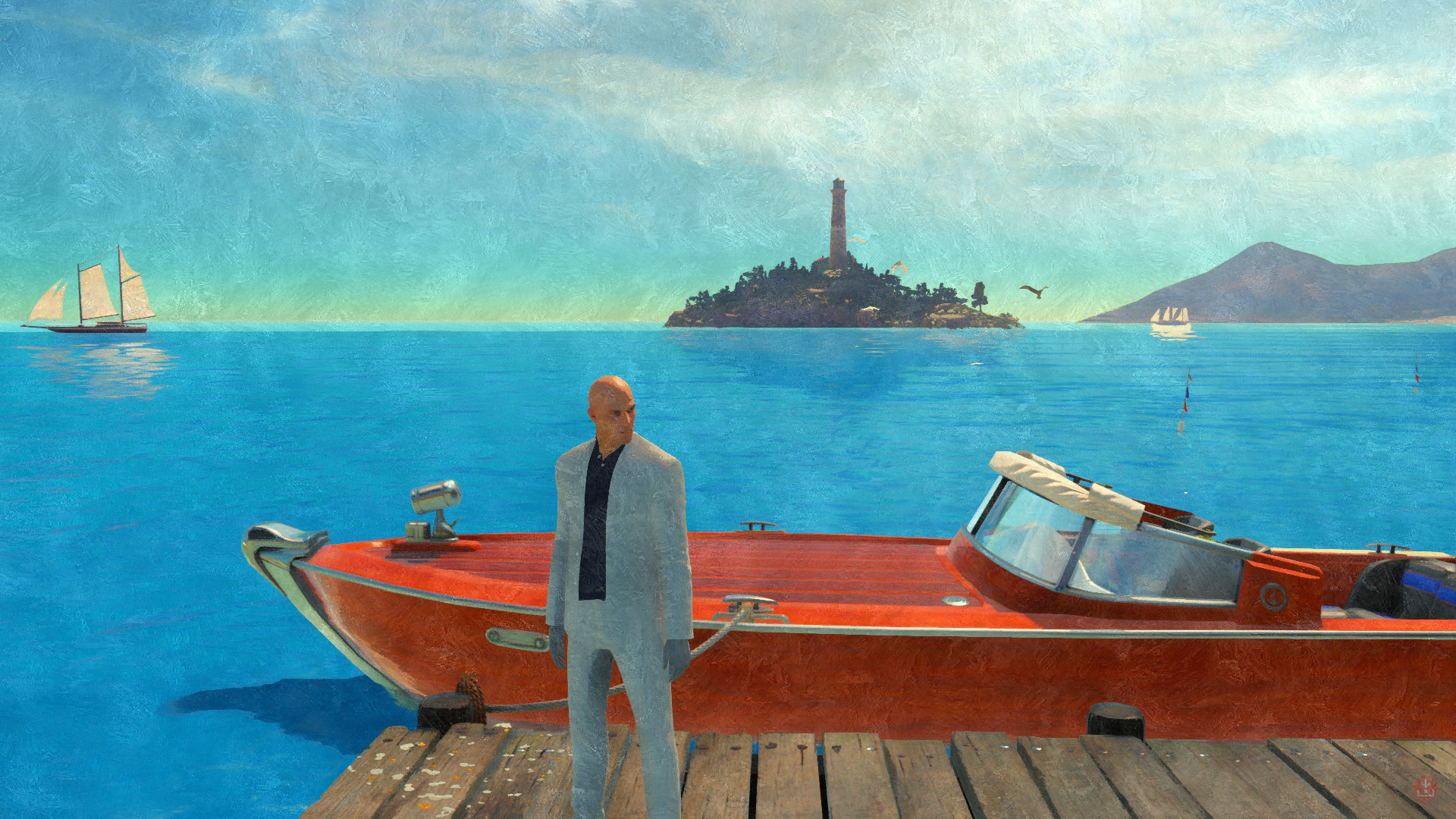 General 1920x1080 Hitman 47 Codename 47 artwork cyan horizon sea red boat island lighthouse birds pier bald head suits sunlight video game art