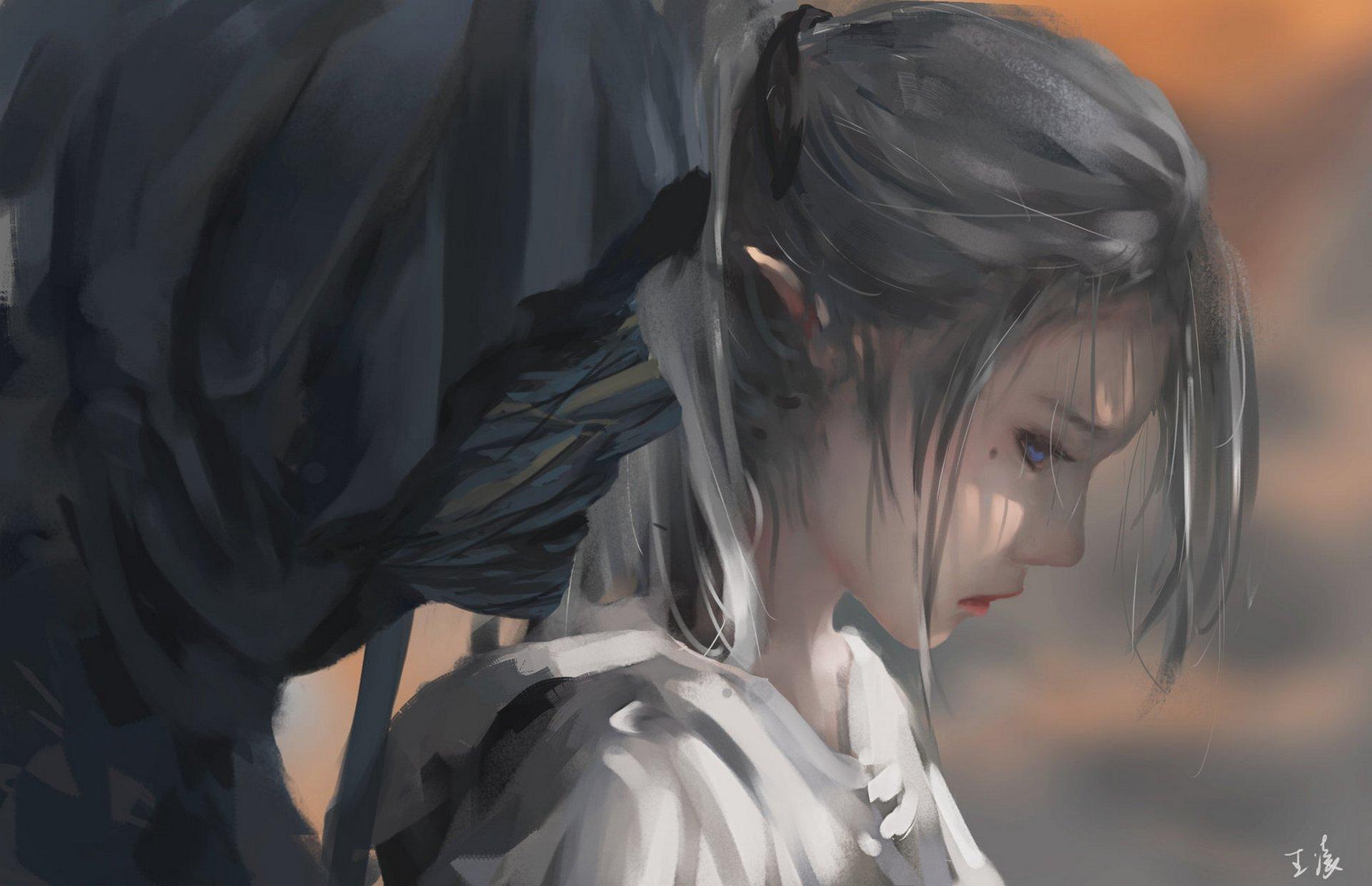 General 1920x1241 WLOP digital art artwork women white hair blue eyes pointy ears sadness long hair fantasy art elves