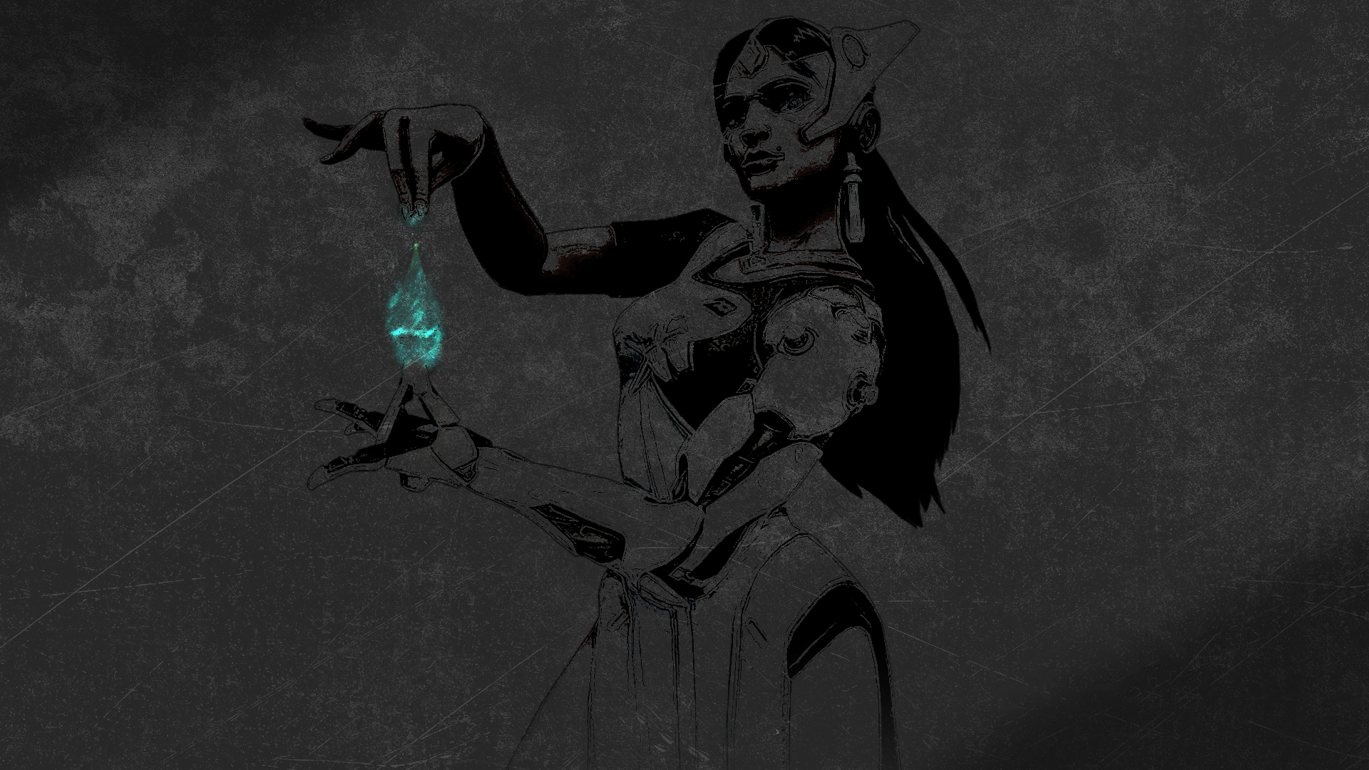 General 1920x1080 Overwatch Symmetra (Overwatch) video games video game art dark gray