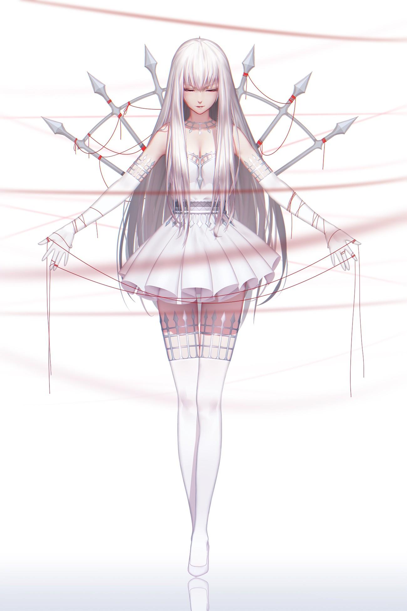 Anime 1300x1950 Pixiv Fantasia T original characters long hair white hair red eyes gloves thread thigh-highs white dress white background anime girls anime