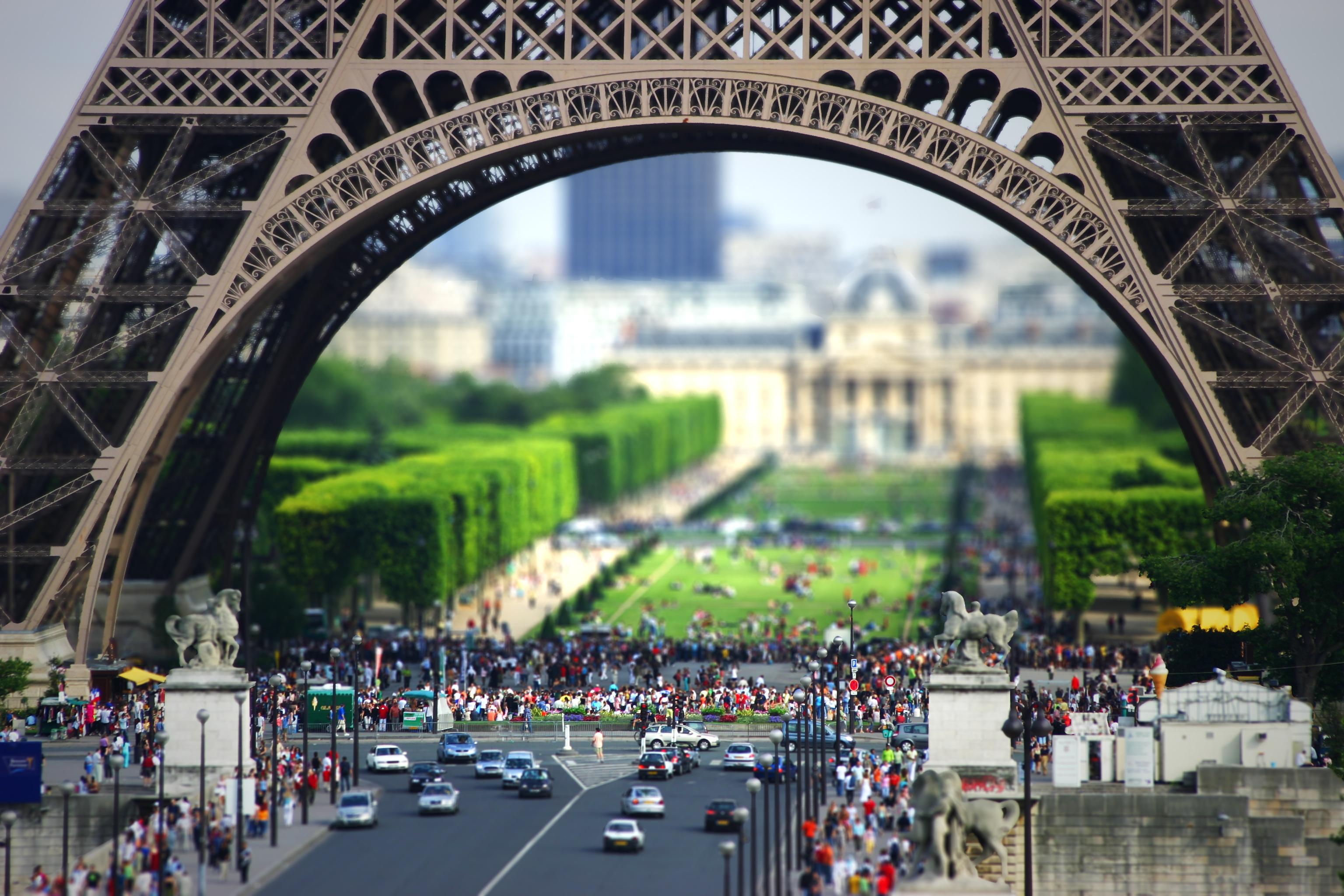 General 3072x2048 France Paris Eiffel Tower tilt shift people traffic cityscape